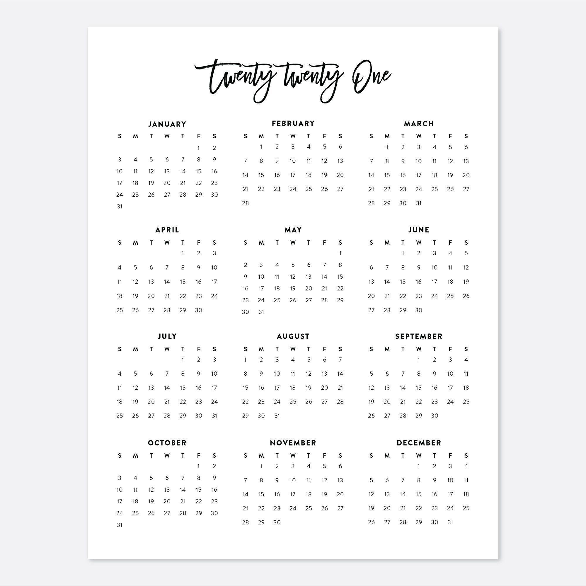 2021 Desk Calendar Printable Calendar 2021 Calendar Year within 8.5 X 11 Printable Calendars