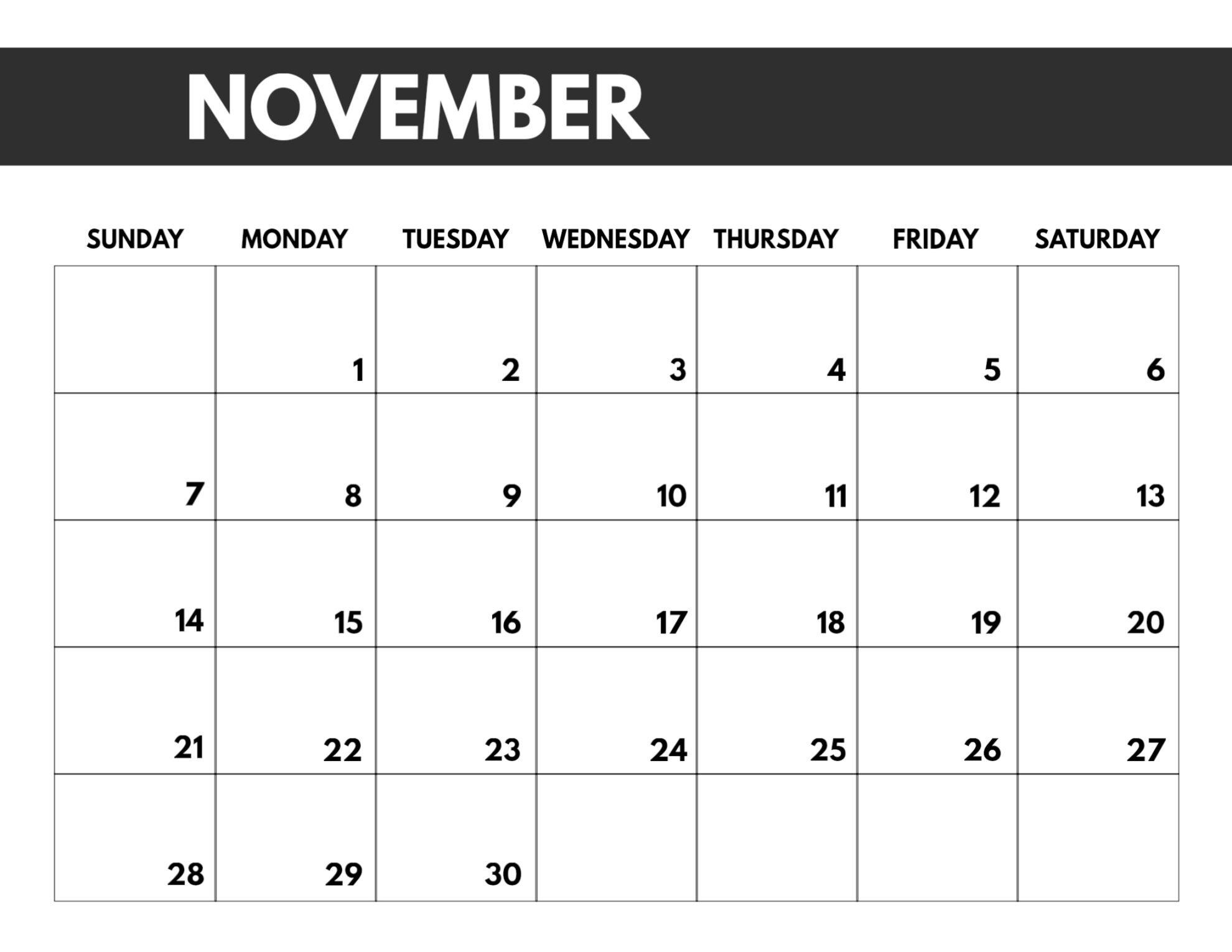 2021 Free Monthly Calendar Templates   Paper Trail Design in Calendar 2021 November Fill In