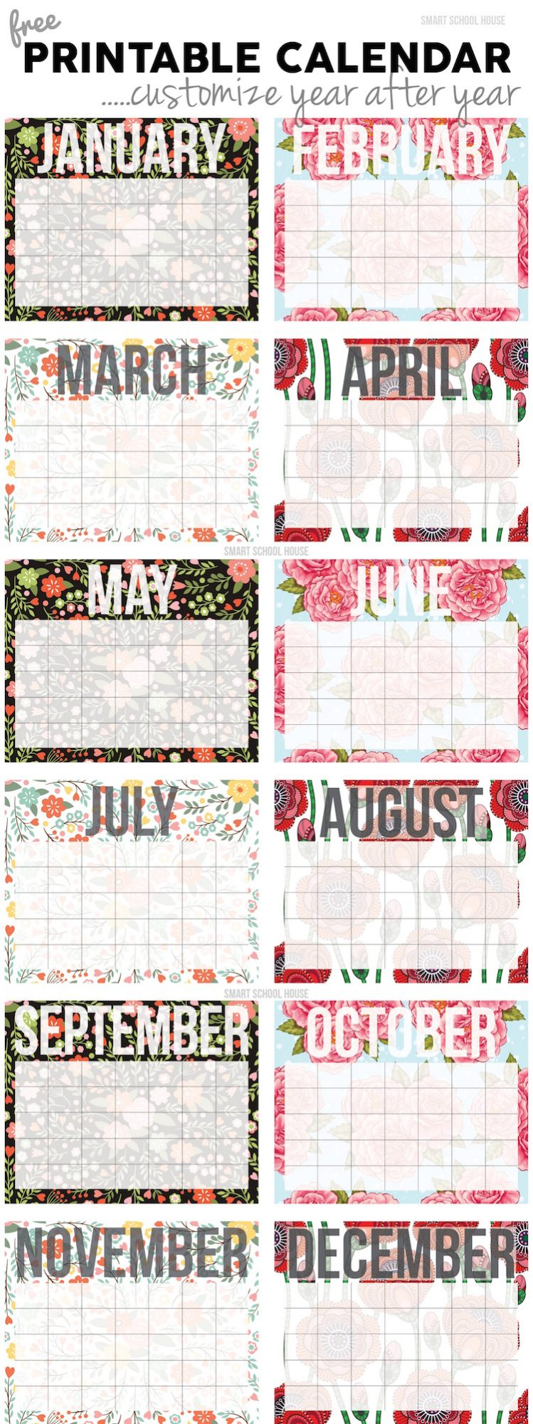 2021 Free Printable Calendars - 20+ Designs For Monthly throughout Girly Calewnder Of The Year