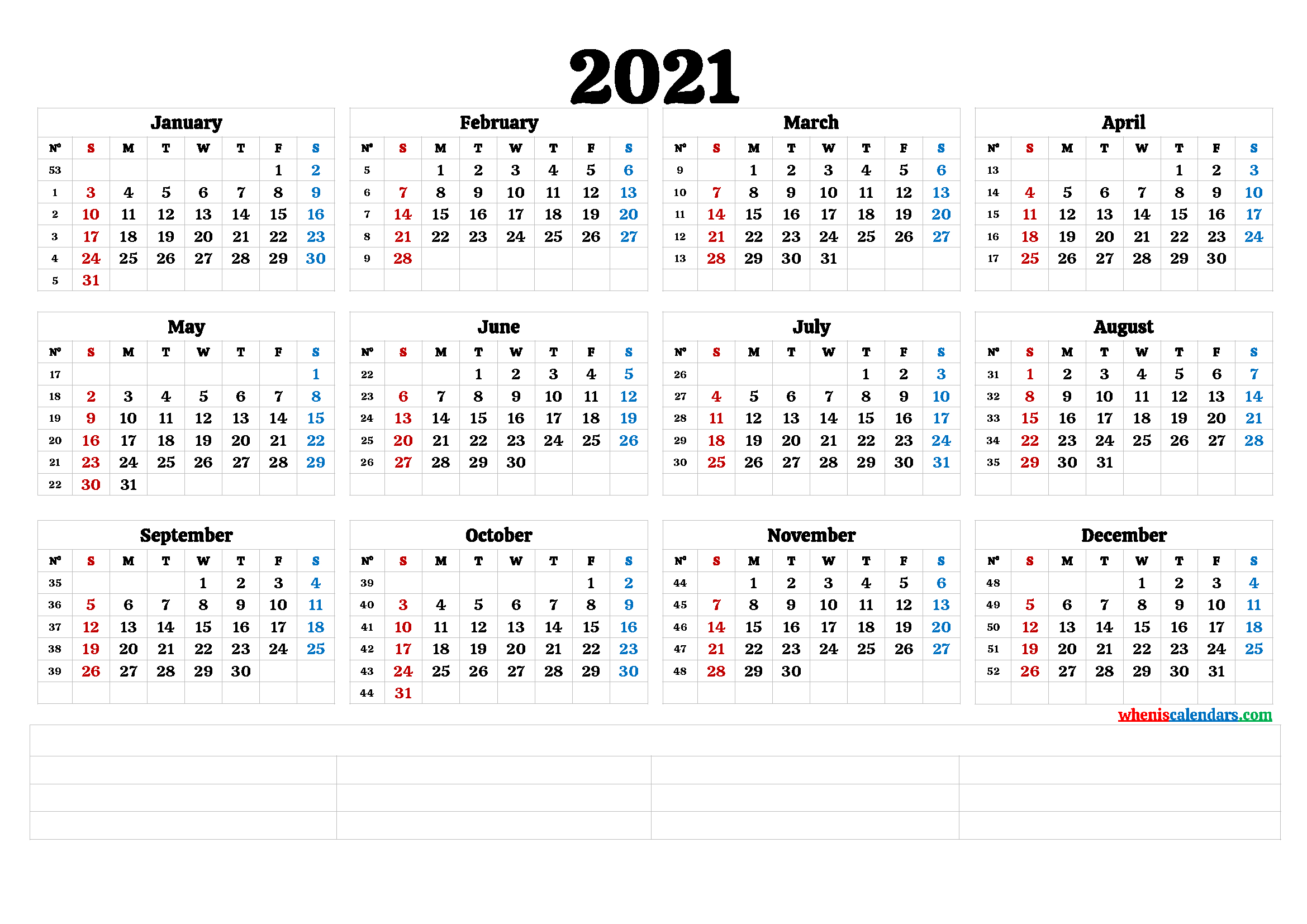 2021 Free Printable Yearly Calendar With Week Numbers for Monthly Calendar By Week Number 2021