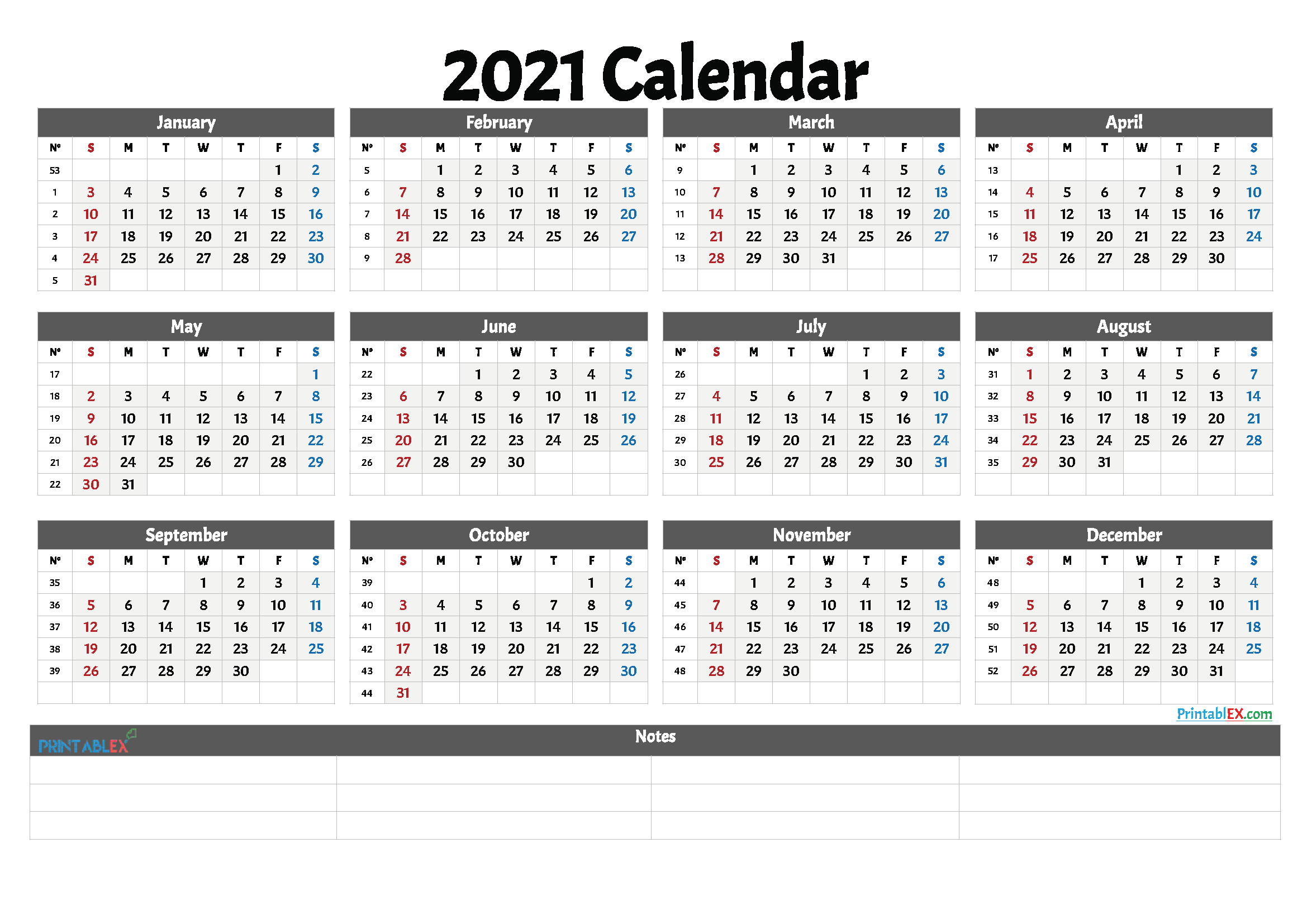 2021 Free Printable Yearly Calendar With Week Numbers – Free for 2021 2021 2 Year Monthly Planner Live