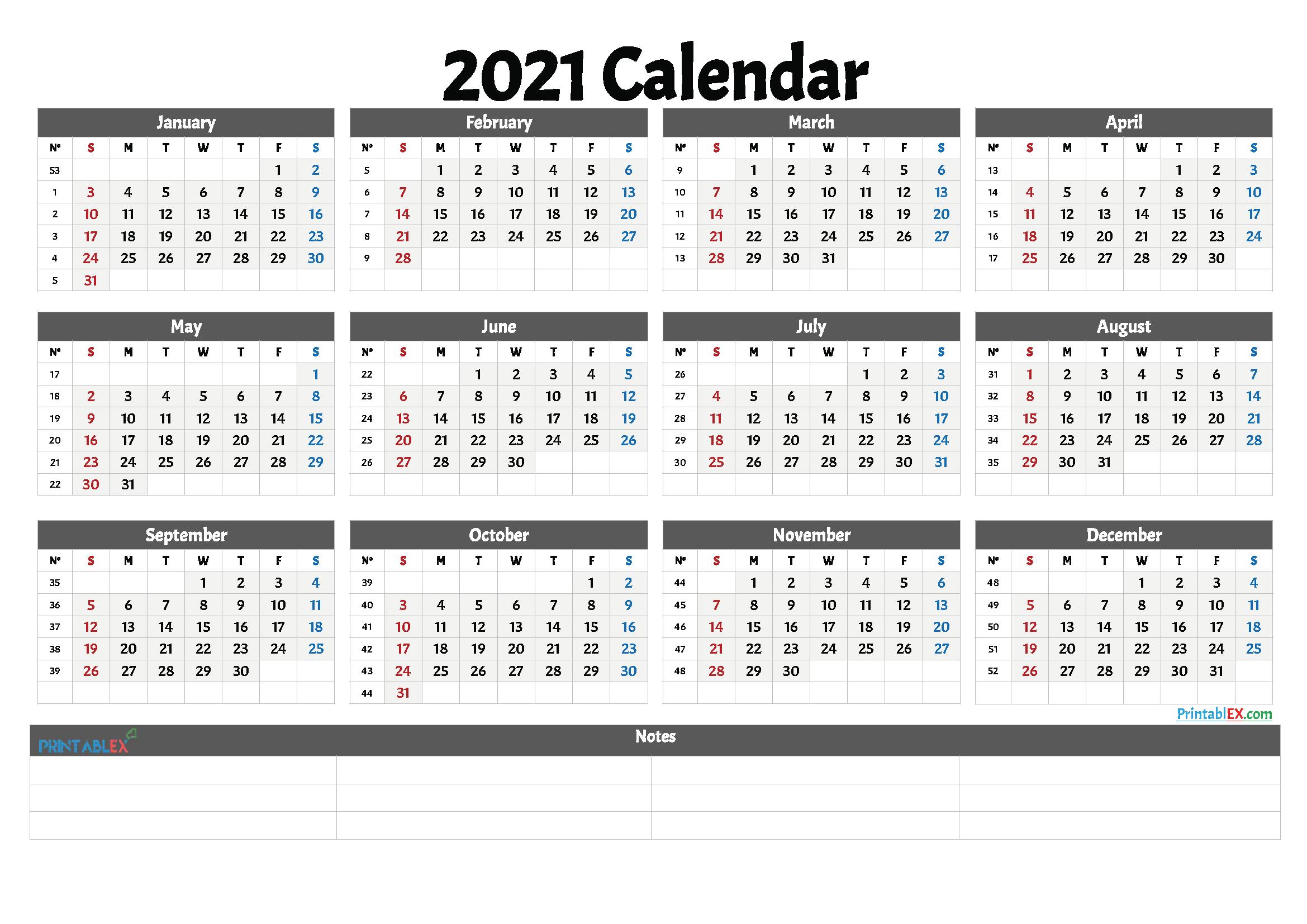 2021 Free Printable Yearly Calendar With Week Numbers – Free regarding 2021 Yearly Calendar With Boxes