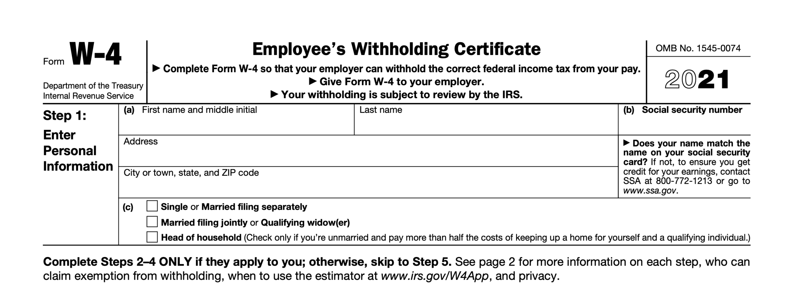 2021 Irs Form W-4: Simple Instructions + Pdf Download throughout Irs Forms 2021 Printable