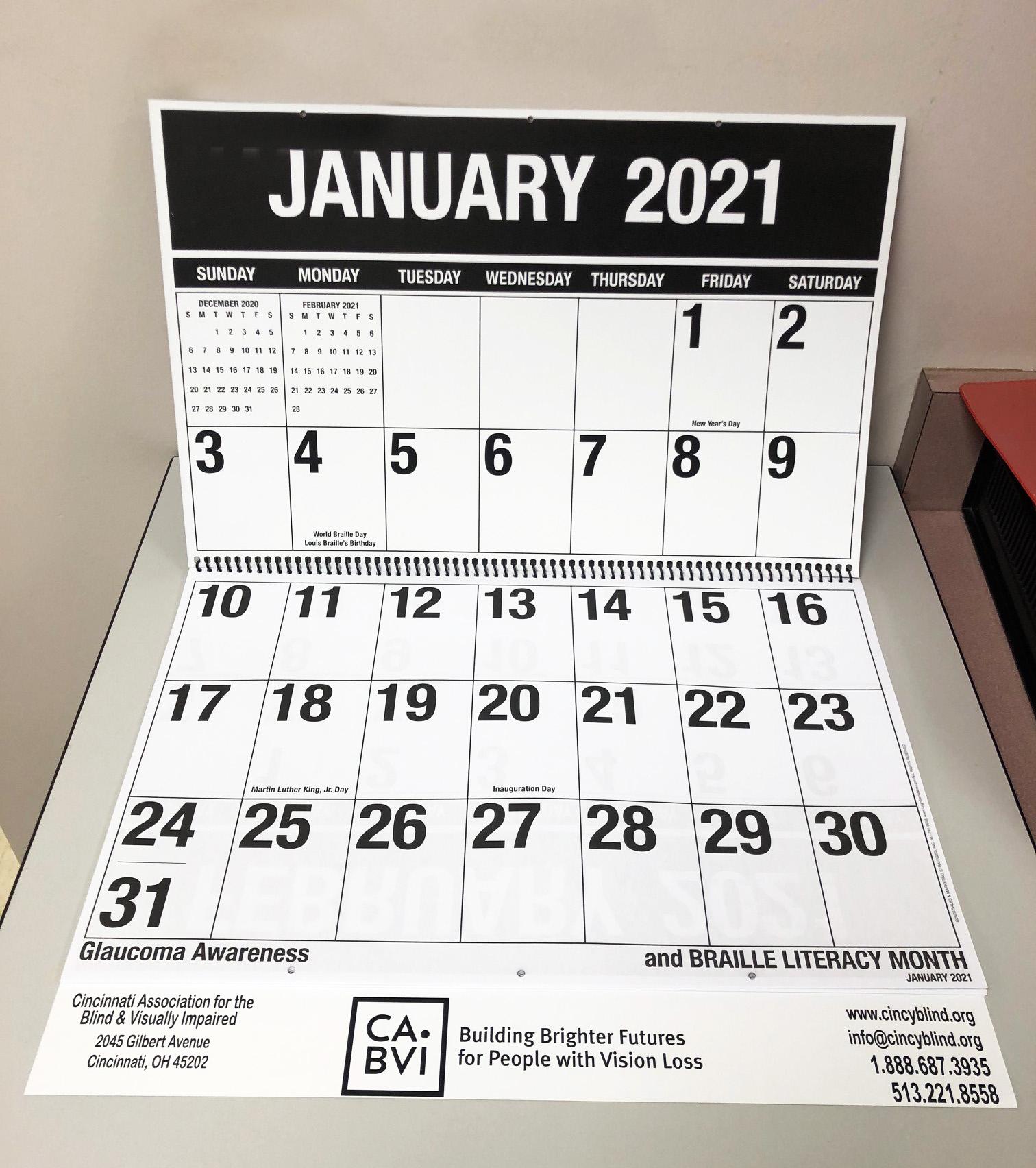 2021 Large Print Calendar in 2021 Large Print Calendar Monthly