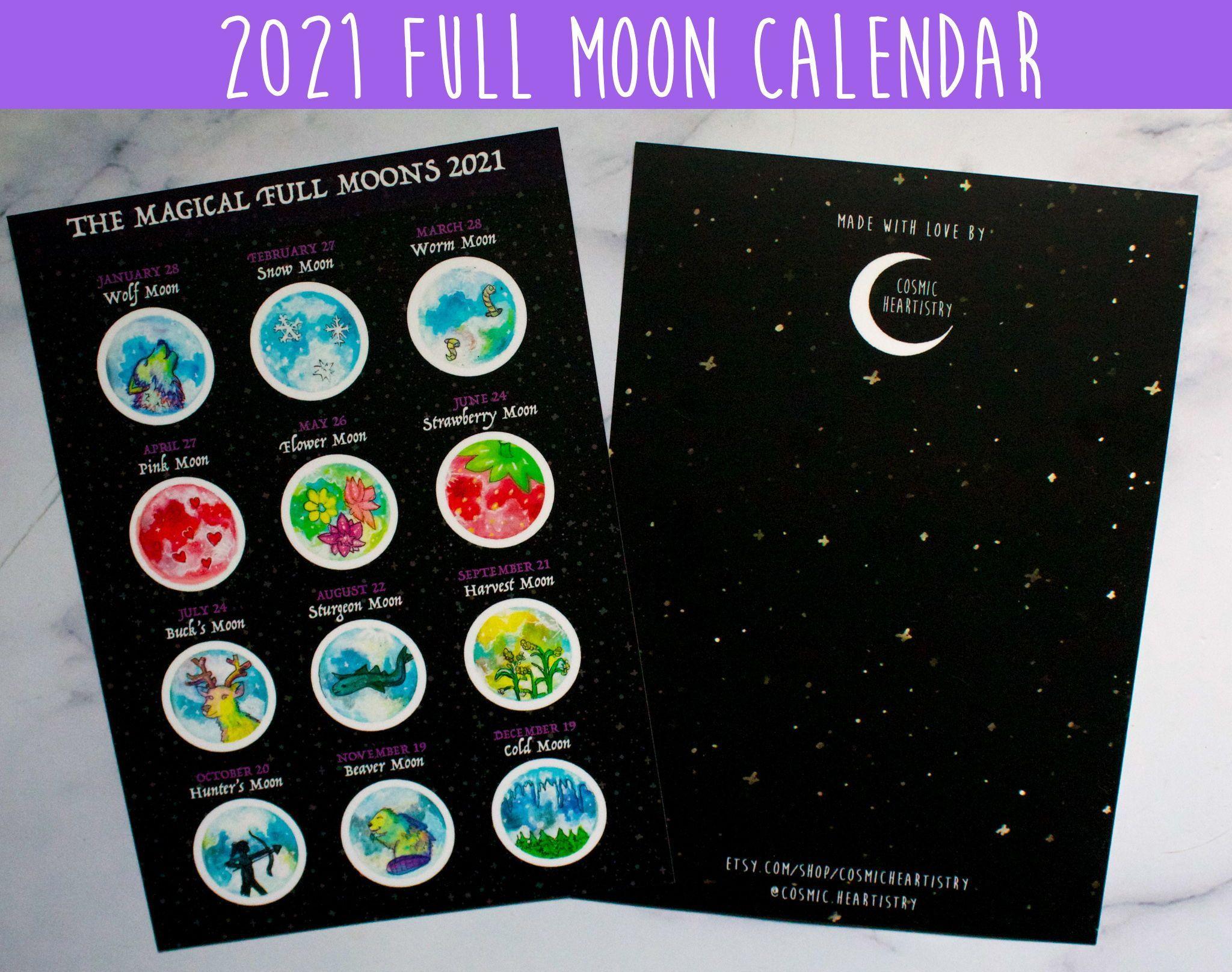 2021 Magic Full Moon Lunar Calendar Traditional Full Moon throughout Full Moon Calendar 2021 Printable
