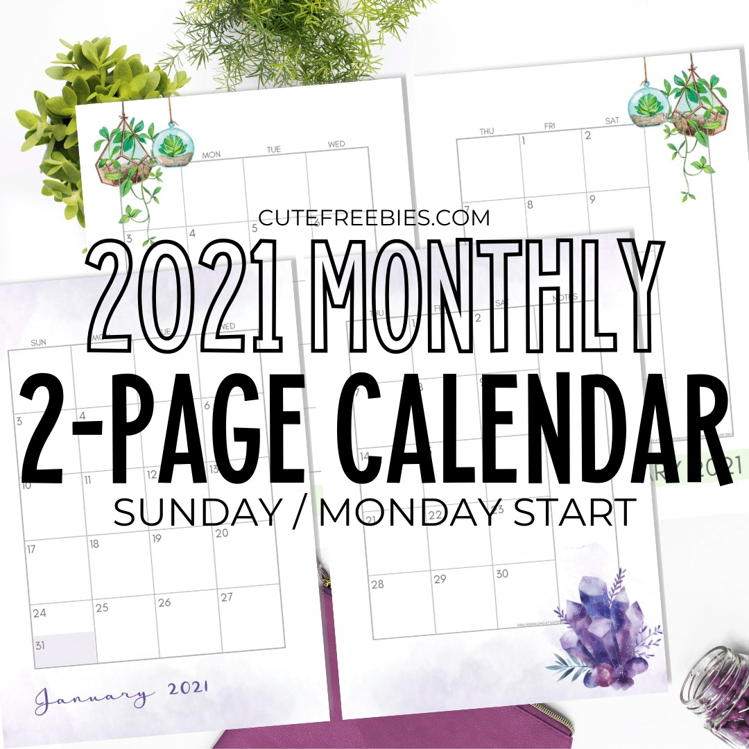 2021 Monthly Calendar Two Page Spread – Free Printable intended for 2021-2021 Monthly Two Year Planner: