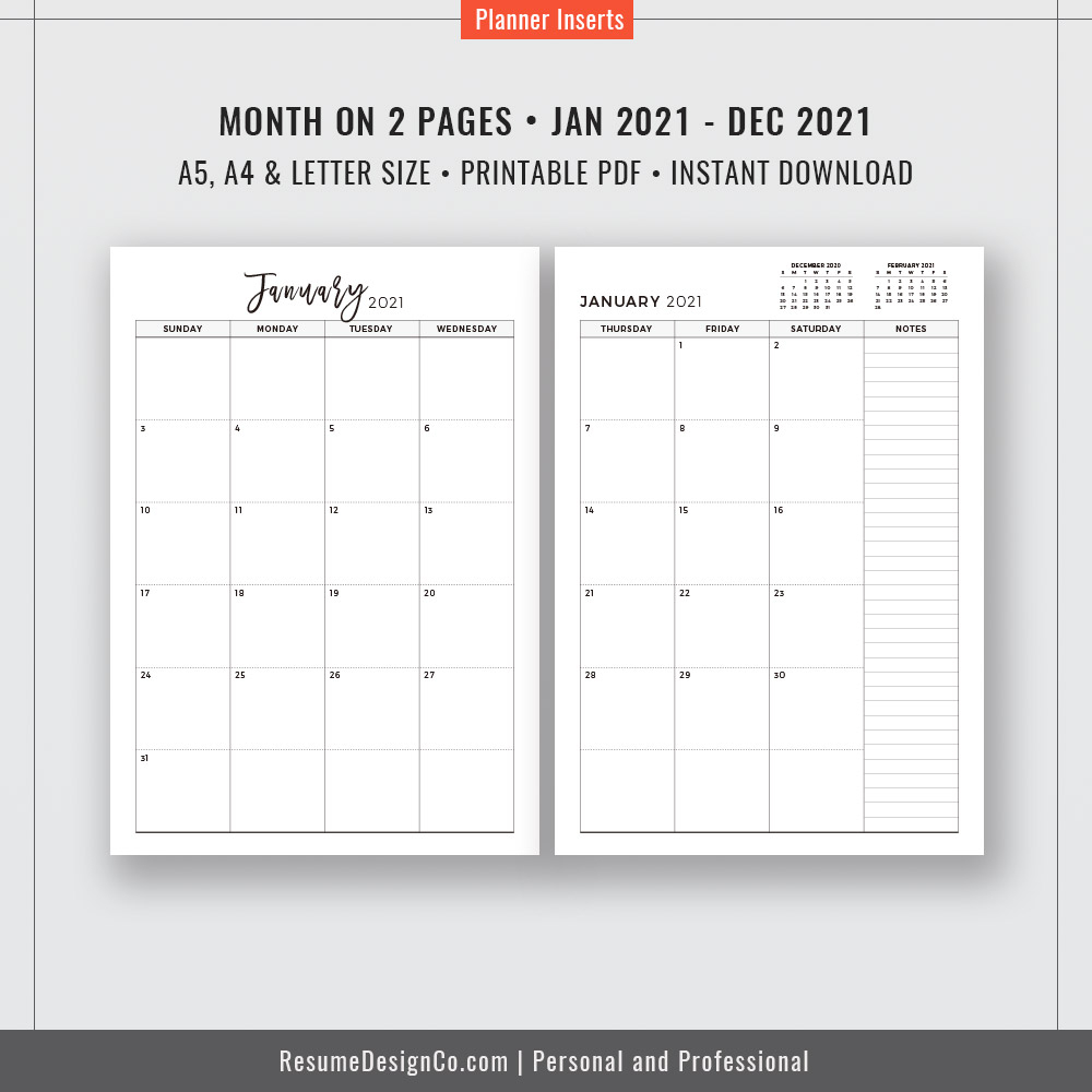 2021 Monthly Planner, 12-Month Calendar, A4, A5, Letter Size, Filofax A5,  Planner Design, Planner Refills, Planner Inserts, Planner Printable,  Instant with 2021 Monthly Planner 12 Month