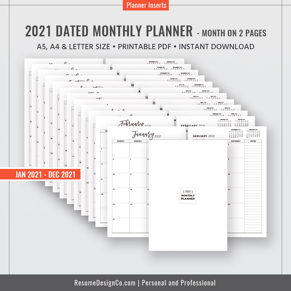 2021 Monthly Planner, 12-Month Calendar, A4, A5, Letter Size, Filofax A5,  Planner Design, Planner Refills, Planner Inserts, Planner Printable,  Instant within 2021 Monthly Planner 12 Month