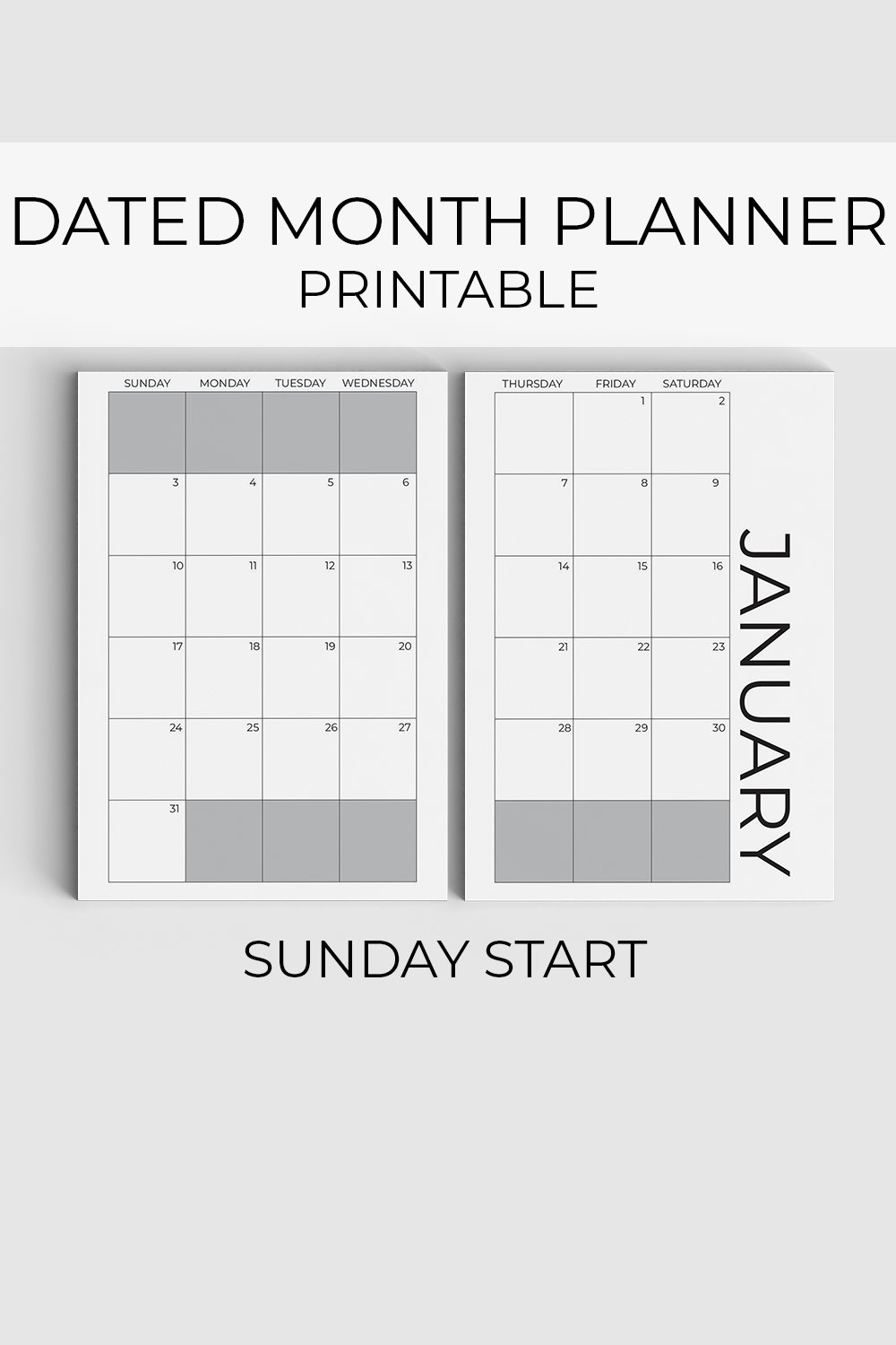 2021 Monthly Planner Printable, Sunday Start, Dated Planner throughout 2021 Monthly Planner 12 Month