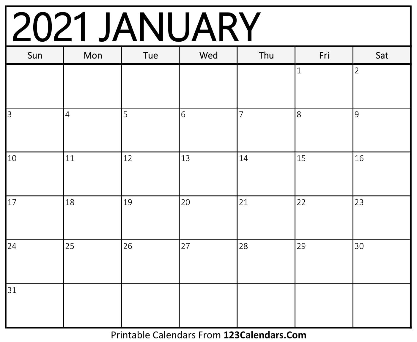 2021 Printable Calendar | 123Calendars in Calendar November December January Space To Write At The Side