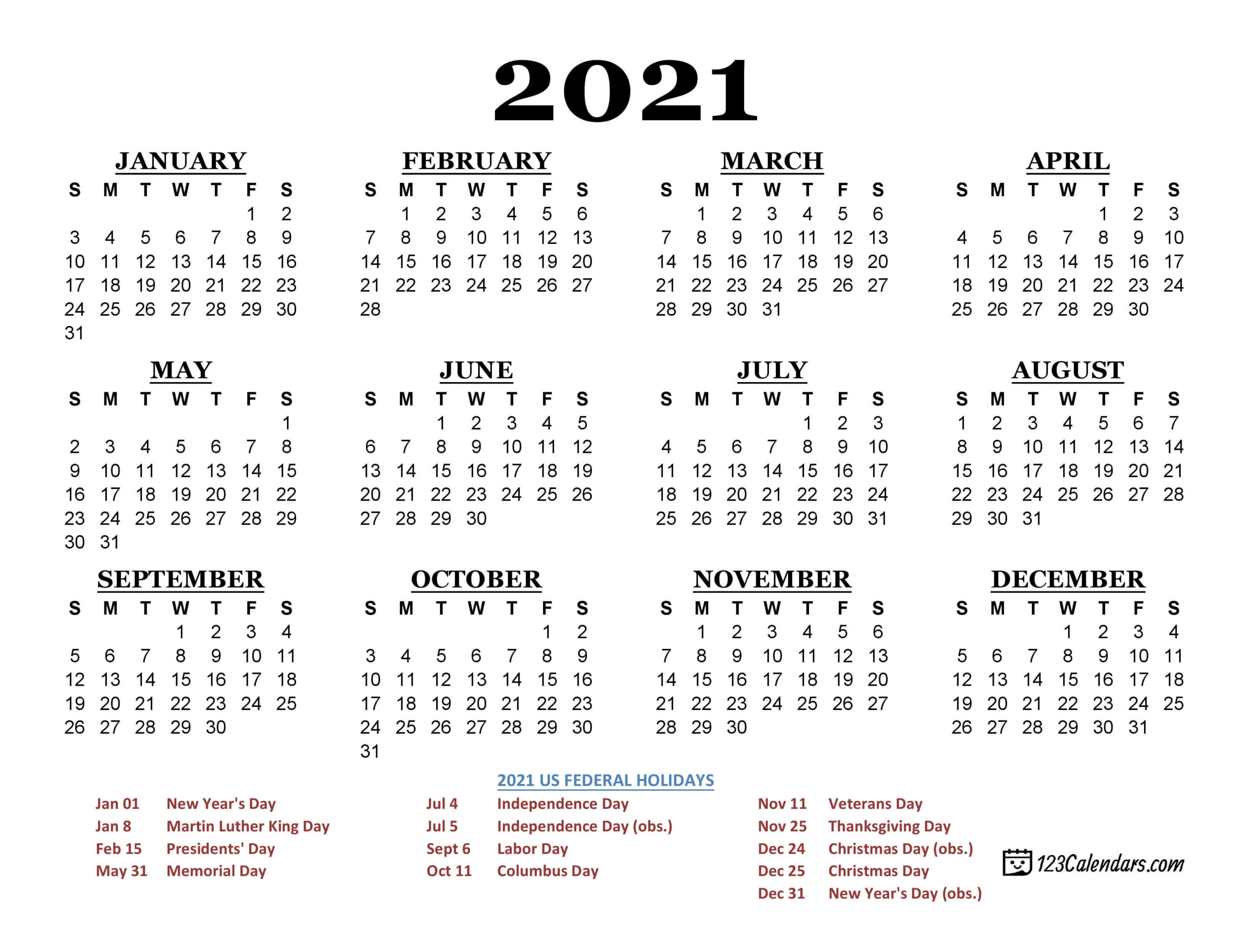 2021 Printable Calendar | 123Calendars intended for Free Printable Pocket Size Calendars