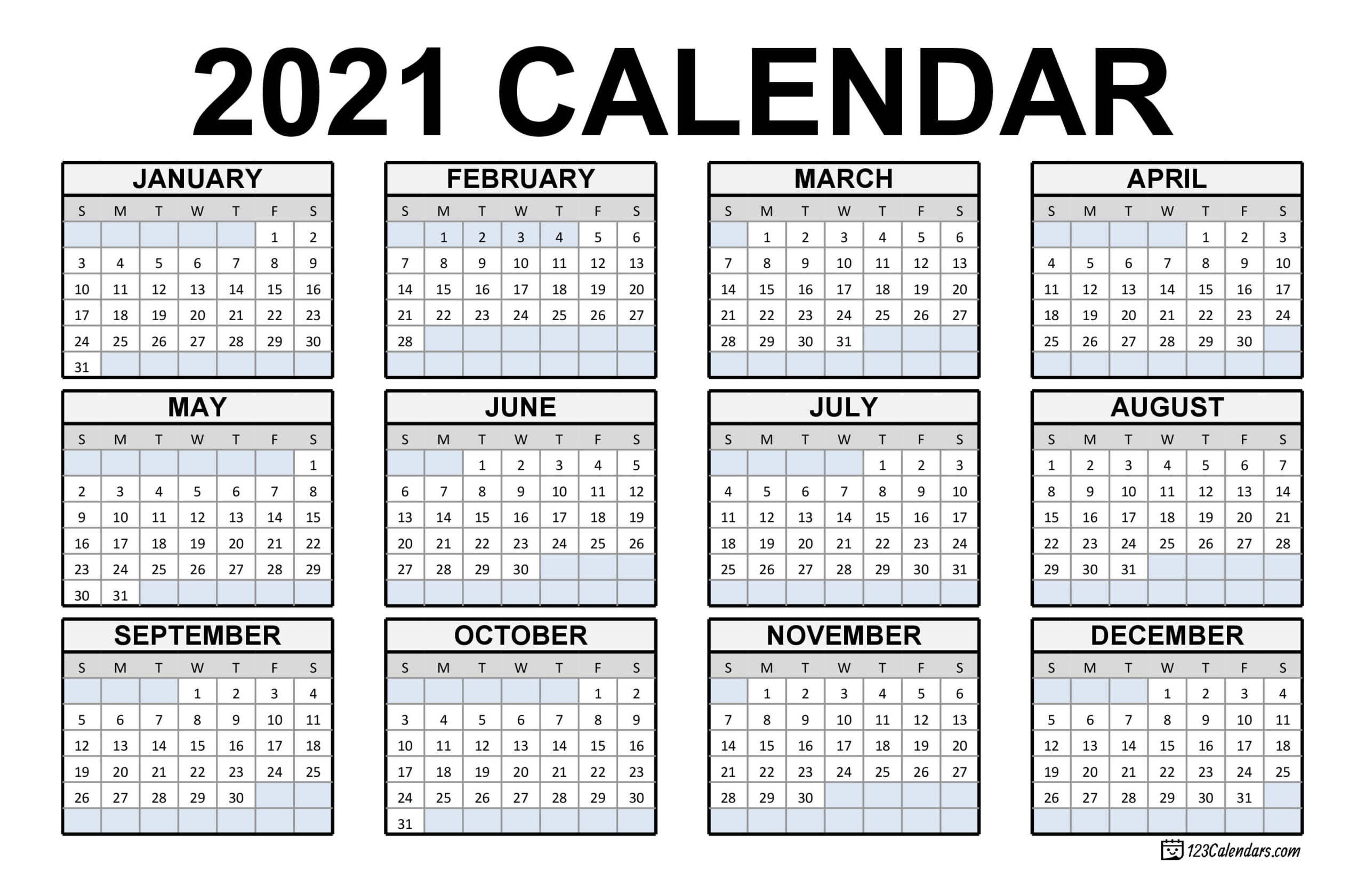 2021 Printable Calendar | 123Calendars within Calendar November December January Space To Write At The Side