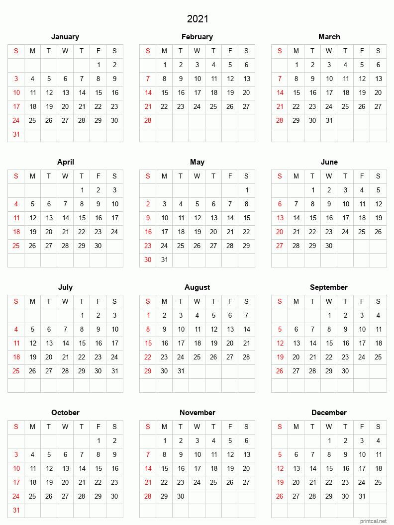 2021 Printable Calendar - Full-Year Calendar (Grid Style) in Printable Fill In Calendar 2021