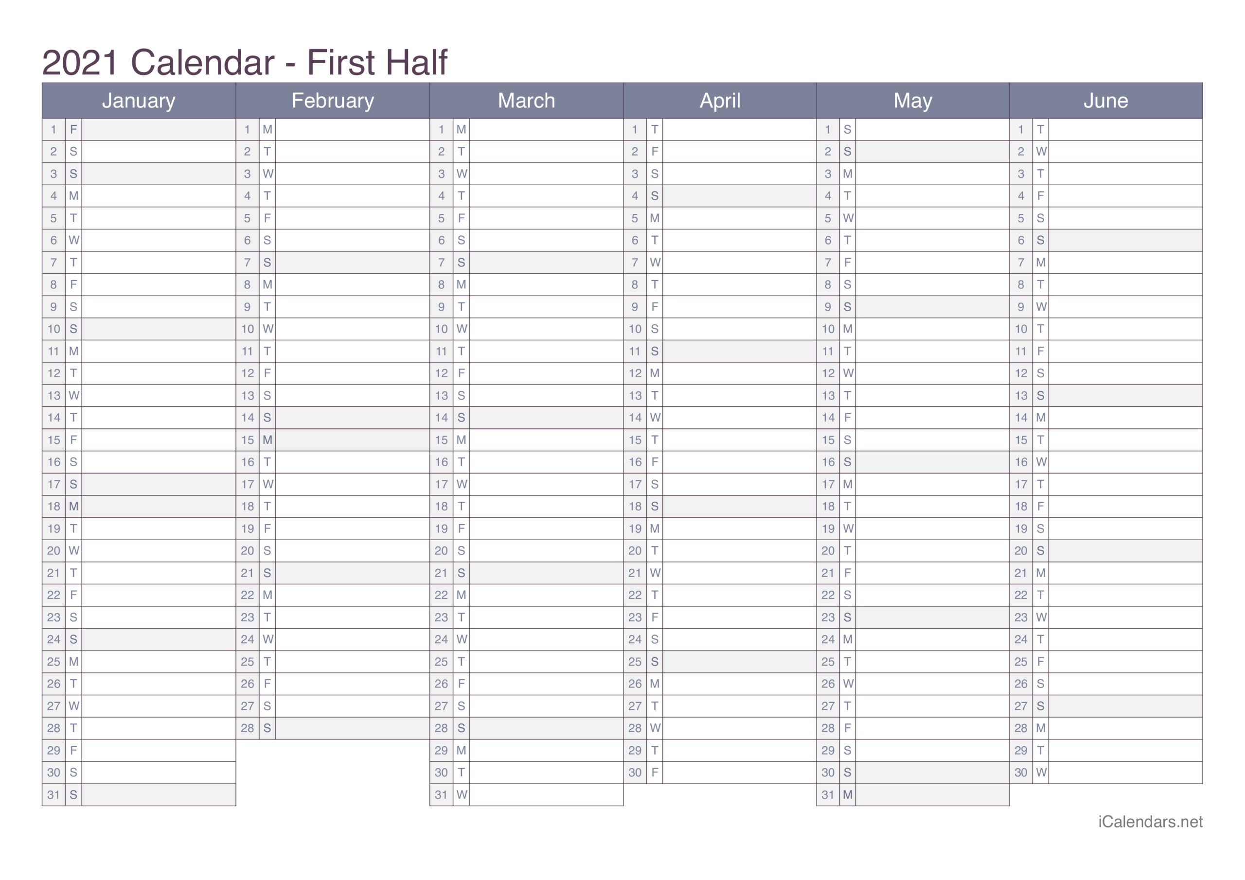 2021 Printable Calendar - Pdf Or Excel - Icalendars for Printable Fill In Calendar 2021