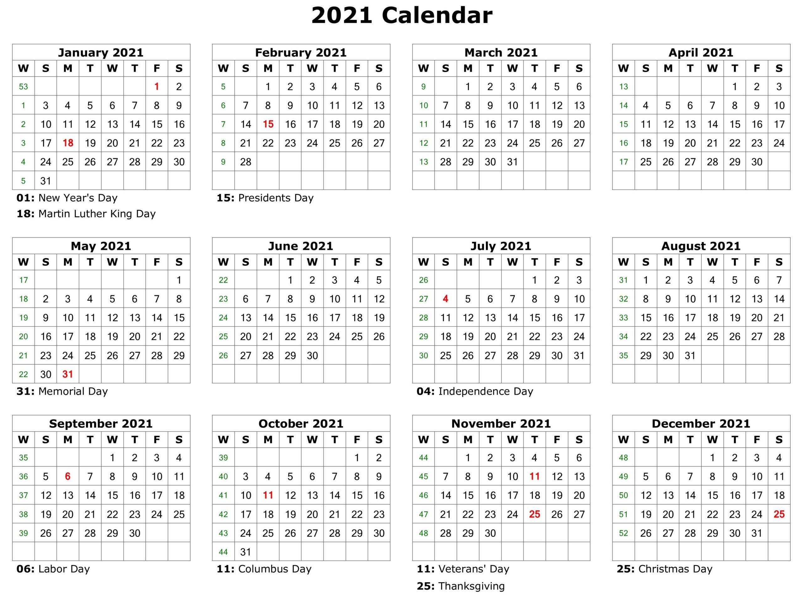 2021 Printable Calendar | Printable Calendar Template throughout 2021 Monthly Planner 12 Month