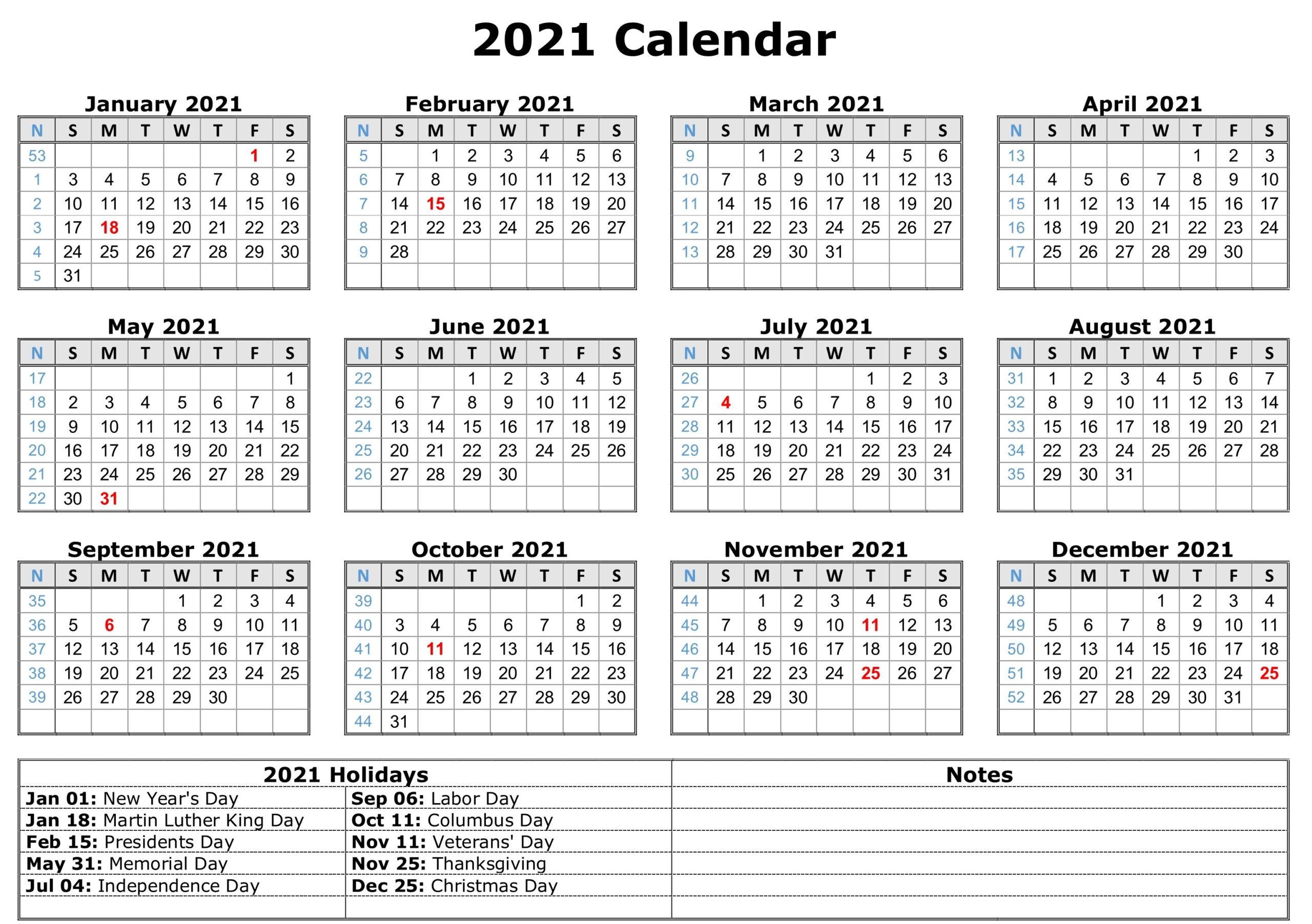 2021 Printable Calendar With Holidays | Free Printable inside Printable Calendar 2021 And Fill On