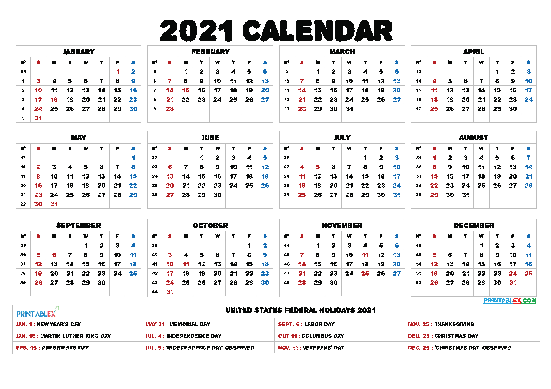 2021 Printable Calendar With Holidays inside Federal Government Calendar Printable