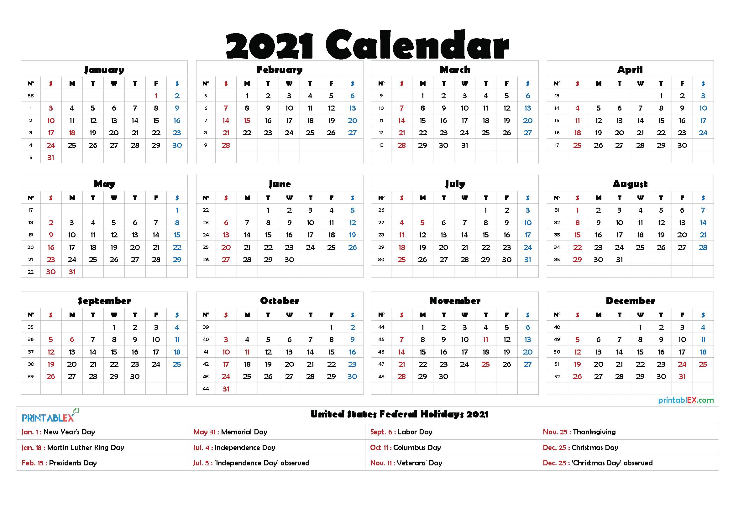 2021 Printable Calendar With Holidays with Federal Government Calendar 2021 Printable
