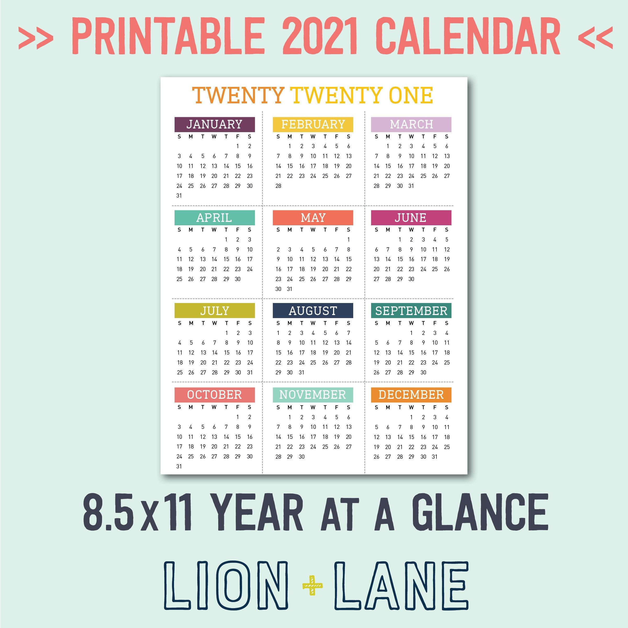 2021 Printable Calendar Year At A Glance 8.5X11 Letter within Printable National Day Calendar 2021