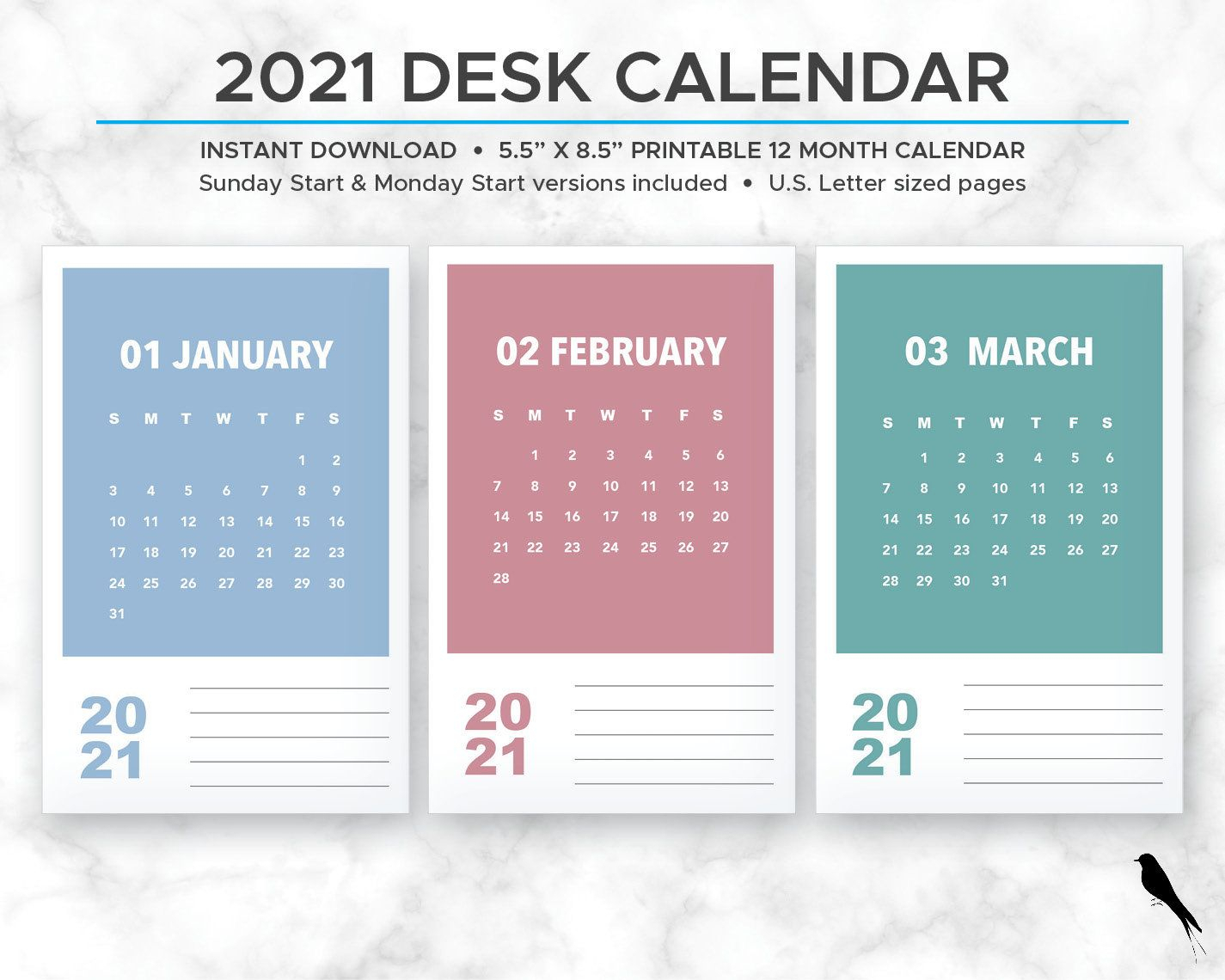 2021 Printable Monthly Calendar - Modern Rainbow Color Block for 2021 Monthly Planner 12 Month