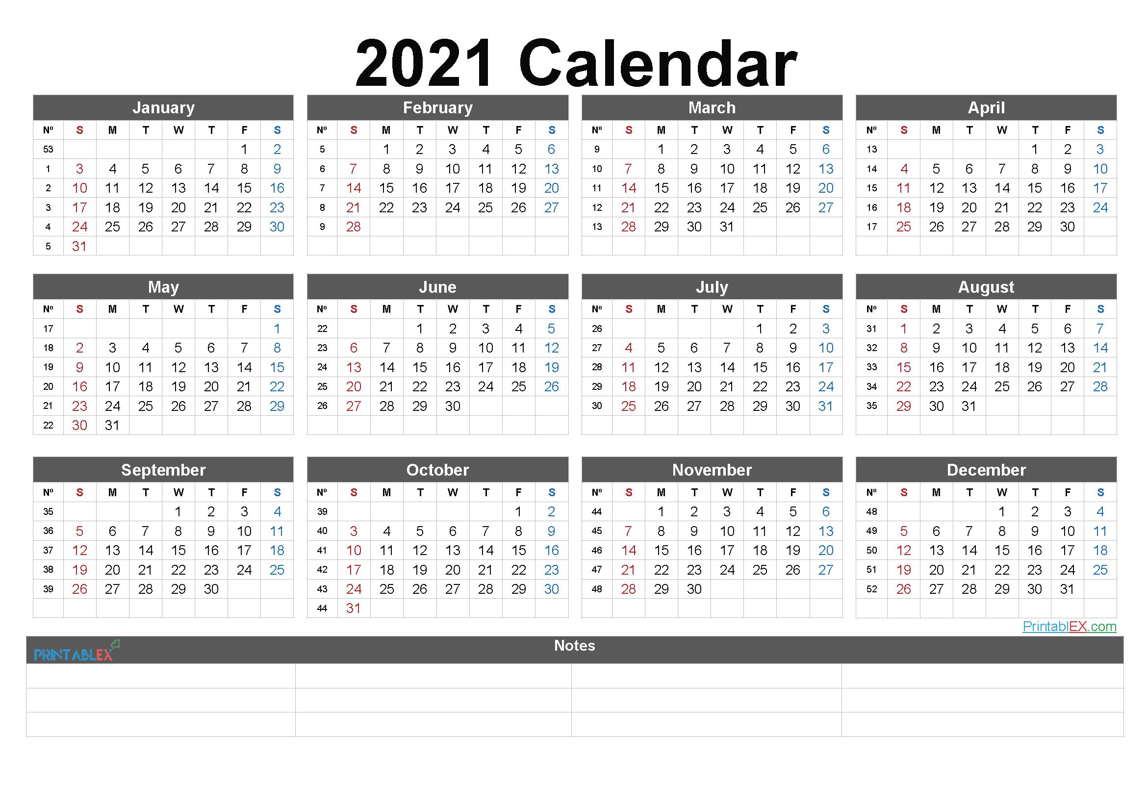 2021 Printable Yearly Calendar With Week Numbers regarding Monthly Calendar By Week Number 2021