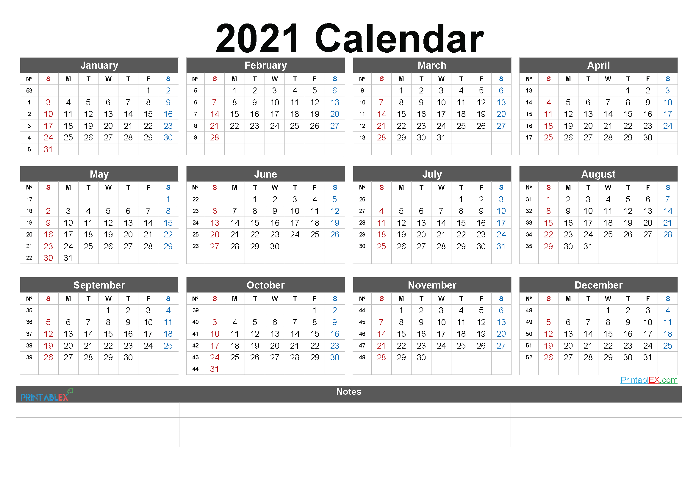 2021 Printable Yearly Calendar With Week Numbers throughout Fill In Yearly Calendar 2021