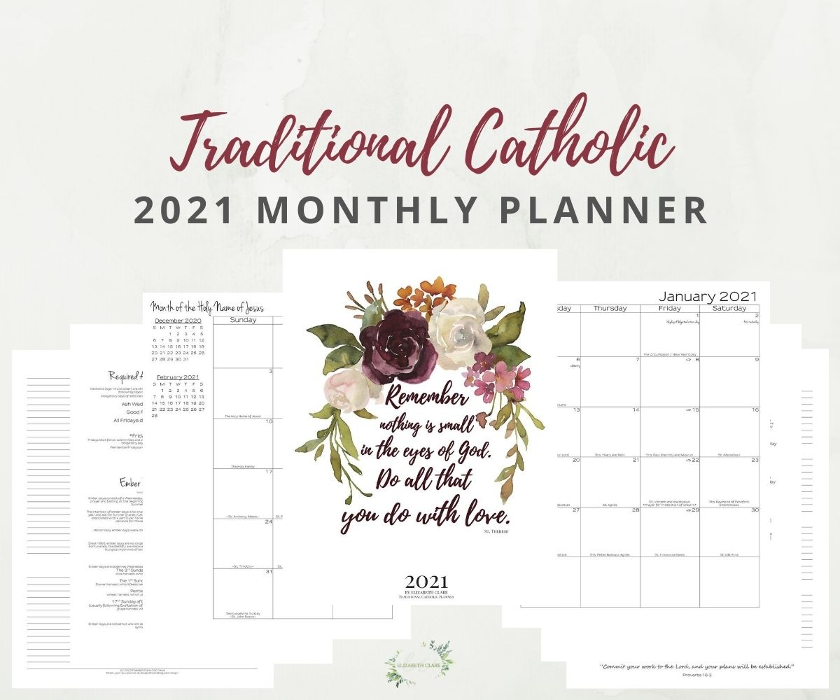 2021 Traditional Catholic Monthly Planner Pdf: Tlm, Latin Mass,  Extraordinary Form regarding 2021 2021 2 Year Monthly Planner Live