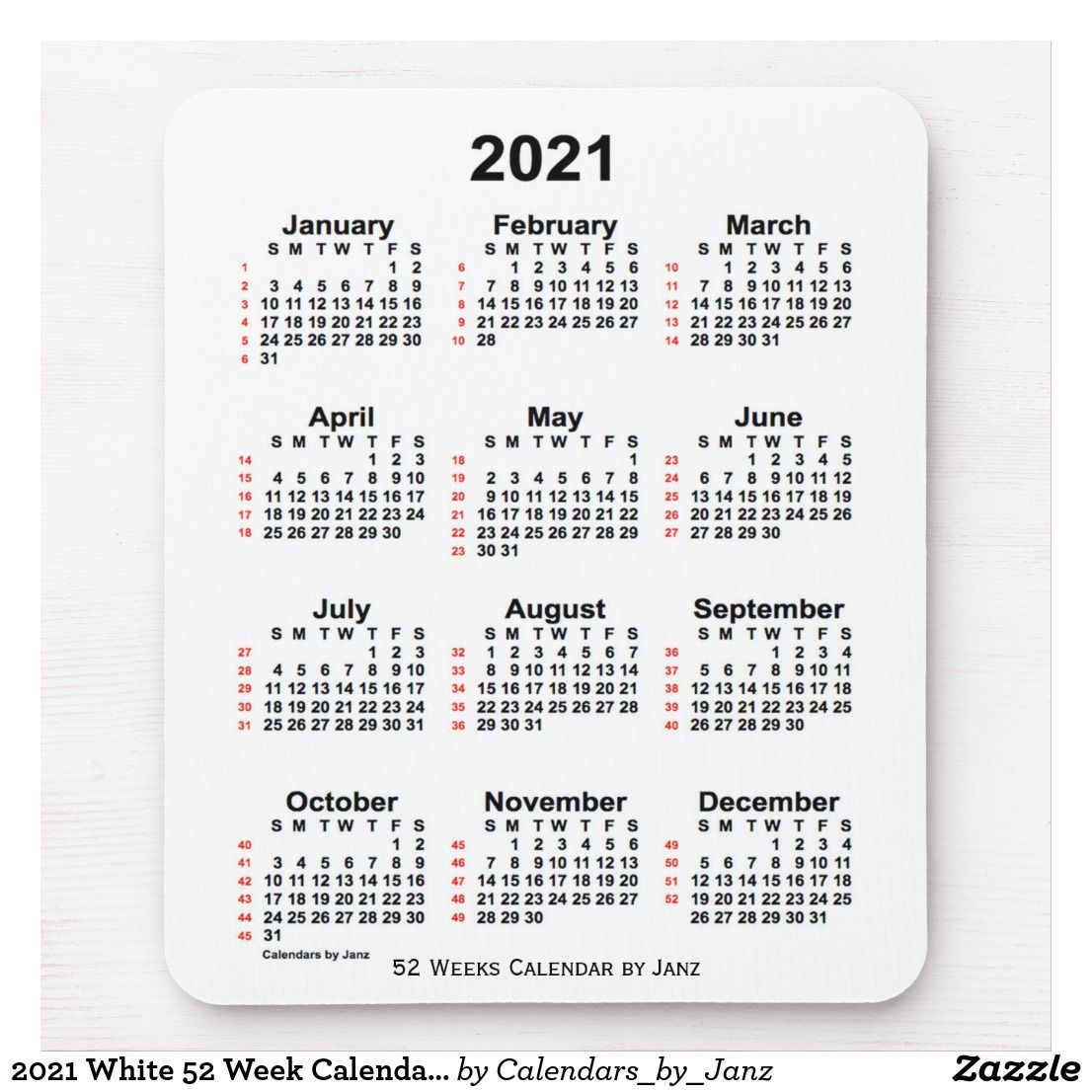 2021 White 52 Week Calendarjanz Mouse Pad | Zazzle within Weekly Planner For 2021- 52 Weeks
