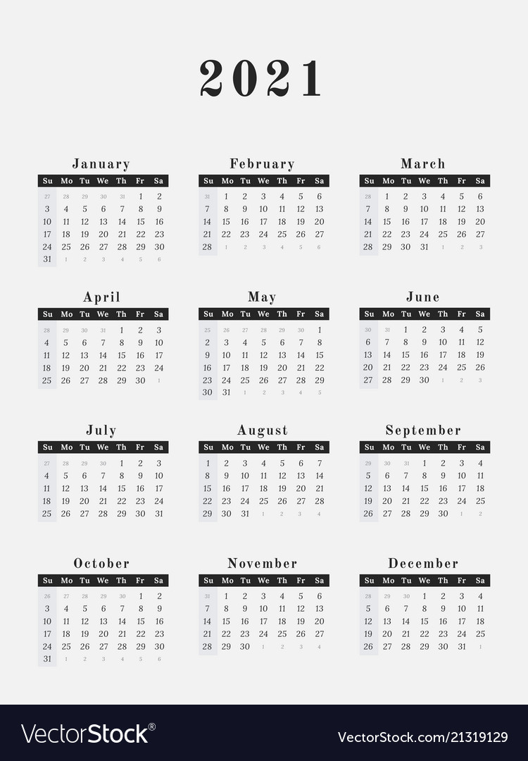 2021 Year Calendar Vertical Design Royalty Free Vector Image intended for 2021 Yearly Calendar With Boxes