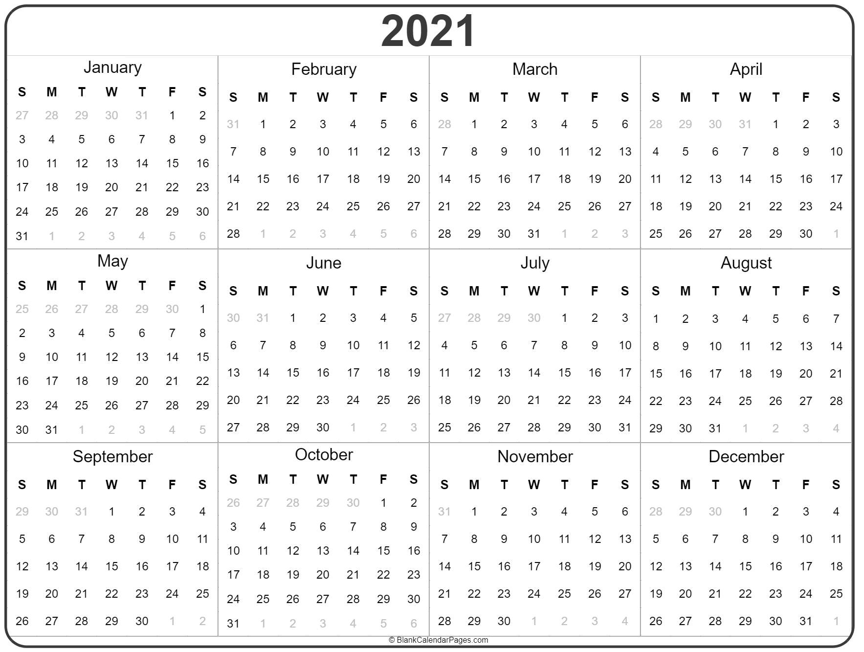 2021 Year Calendar | Yearly Printable intended for 2021 Printable Calendar With Boxes Yearly