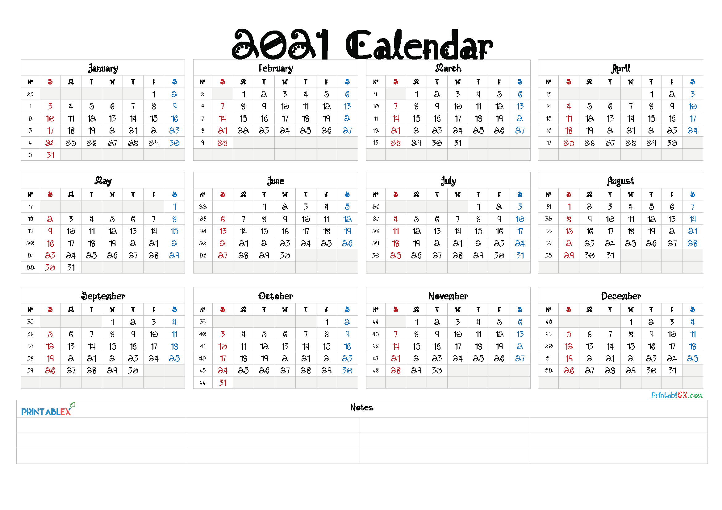 2021 Yearly Calendar Template Word – Free Printable 2020 throughout 2021 Printable Yearly Calendar Template