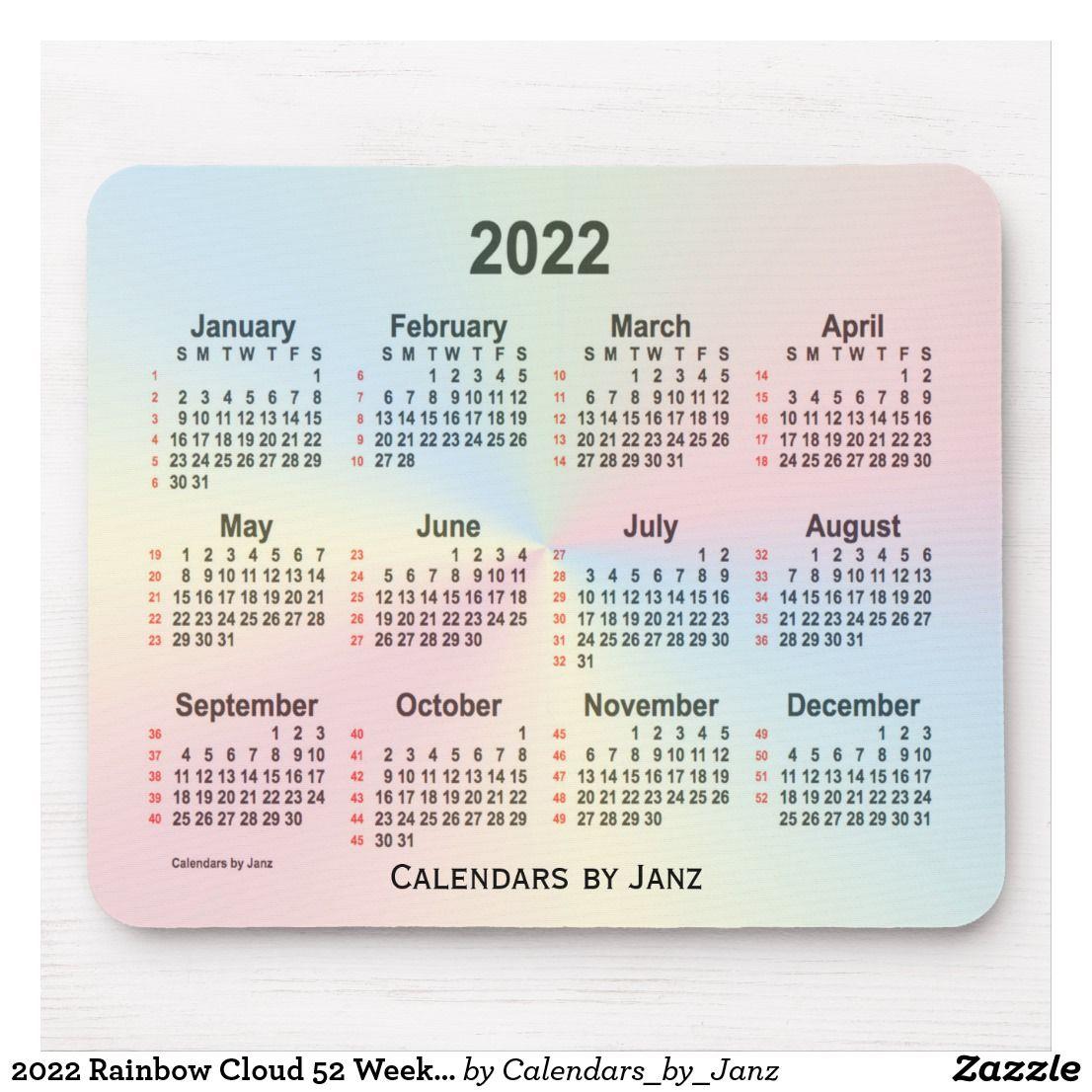 2022 Rainbow Cloud 52 Weeks Calendarjanz Mouse Pad regarding Weekly Planner For 2021- 52 Weeks