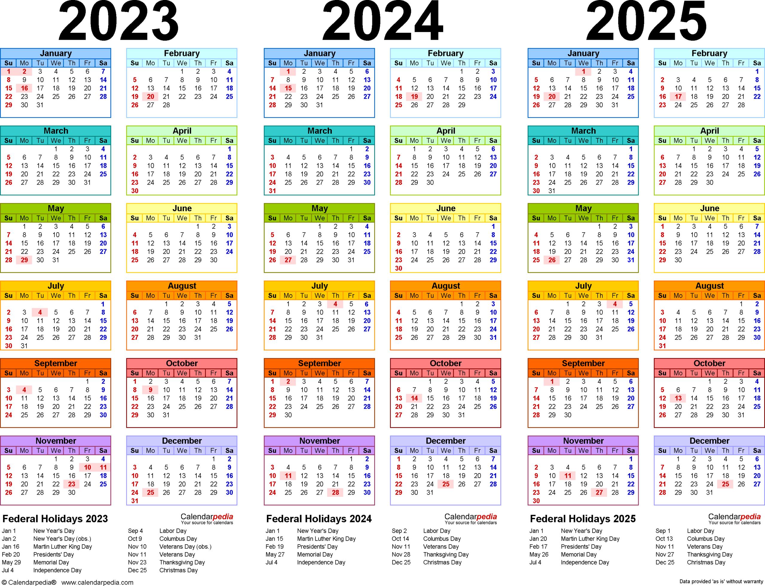 2023-2025 Three Year Calendar - Free Printable Pdf Templates in Three Year Printable Calendar 2021 To 2023