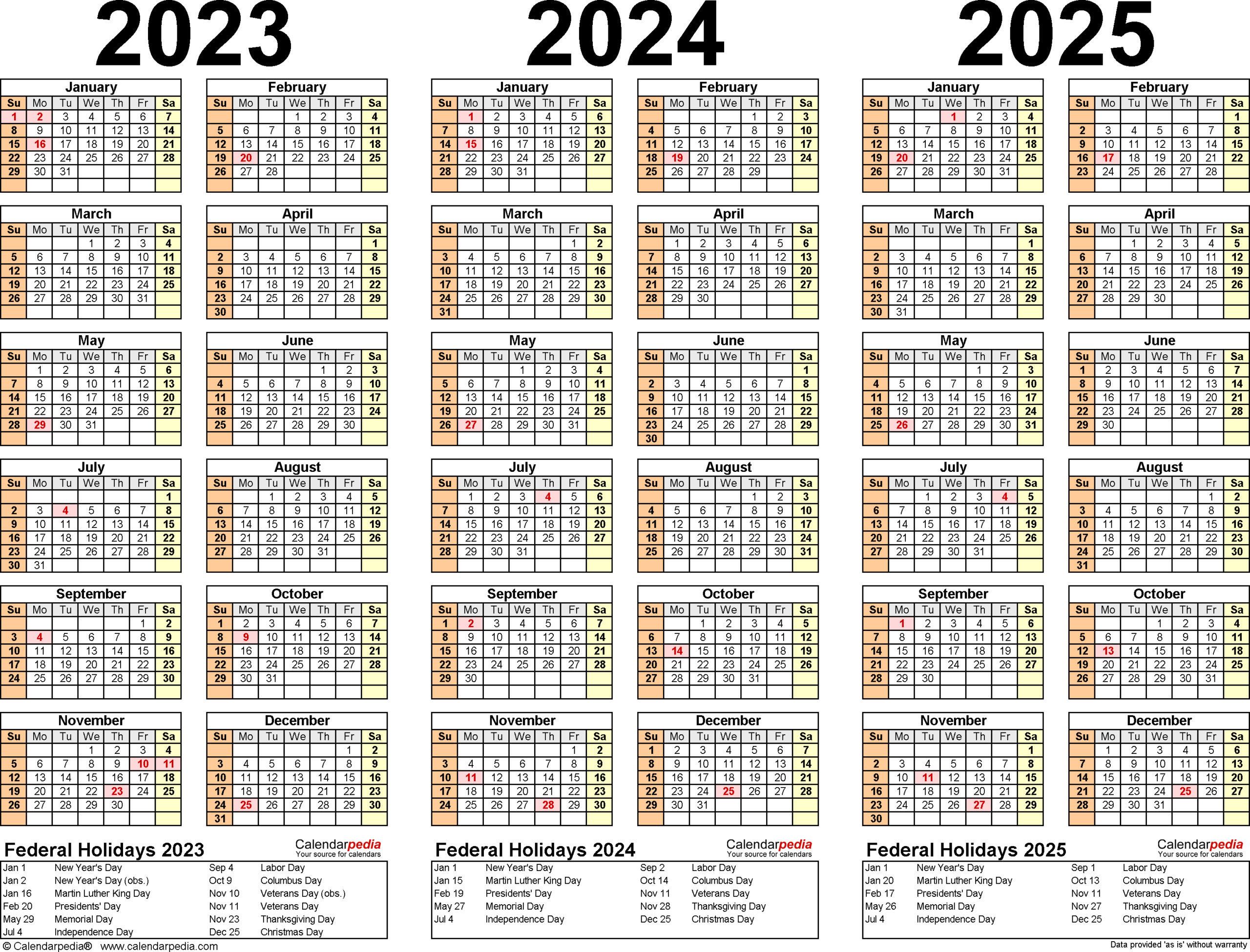 2023-2025 Three Year Calendar - Free Printable Pdf Templates pertaining to Three Year Printable Calendar 2021 To 2023