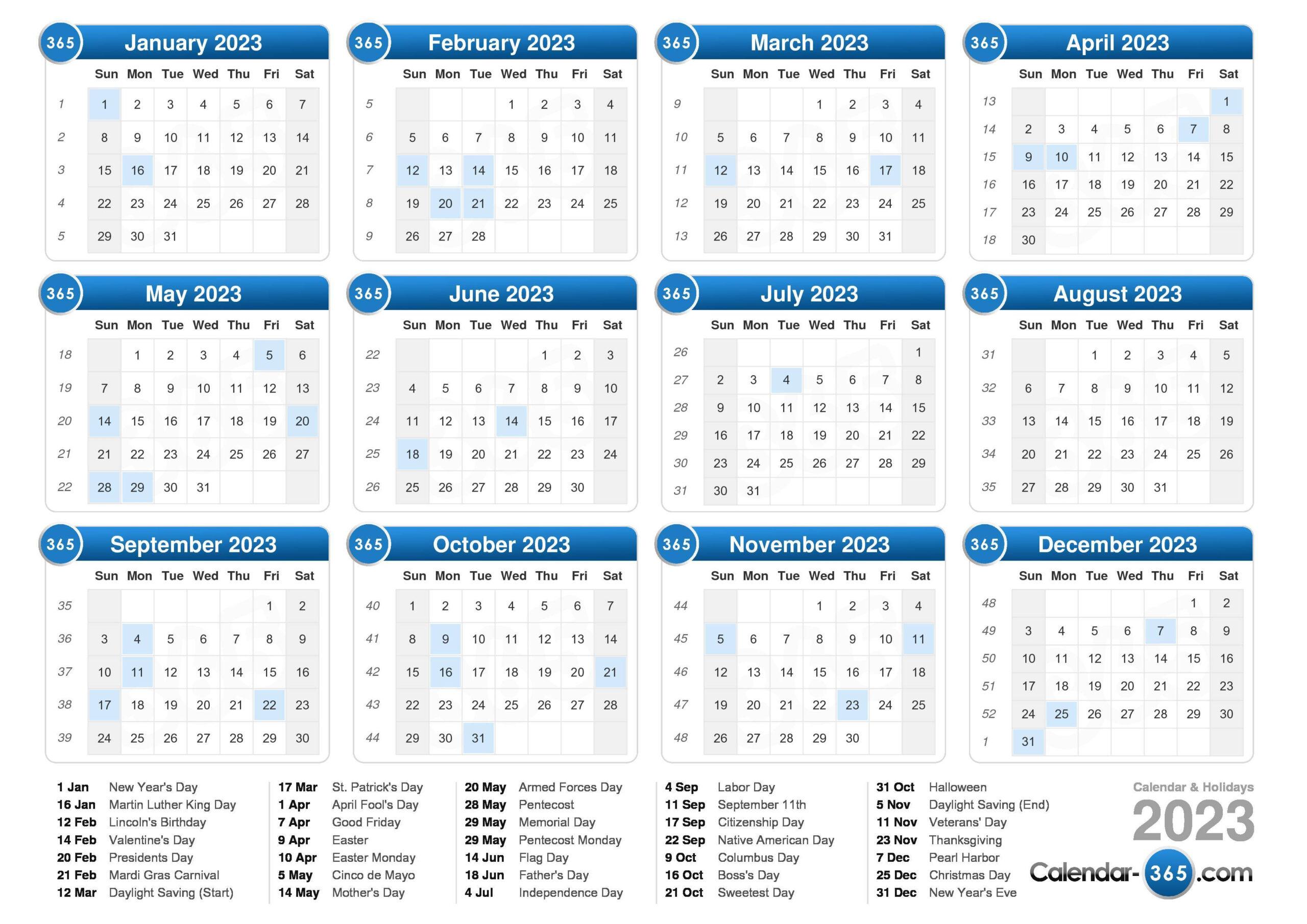 2023 Calendar with regard to 2021 - 2023 Four Year Monthly Calendar