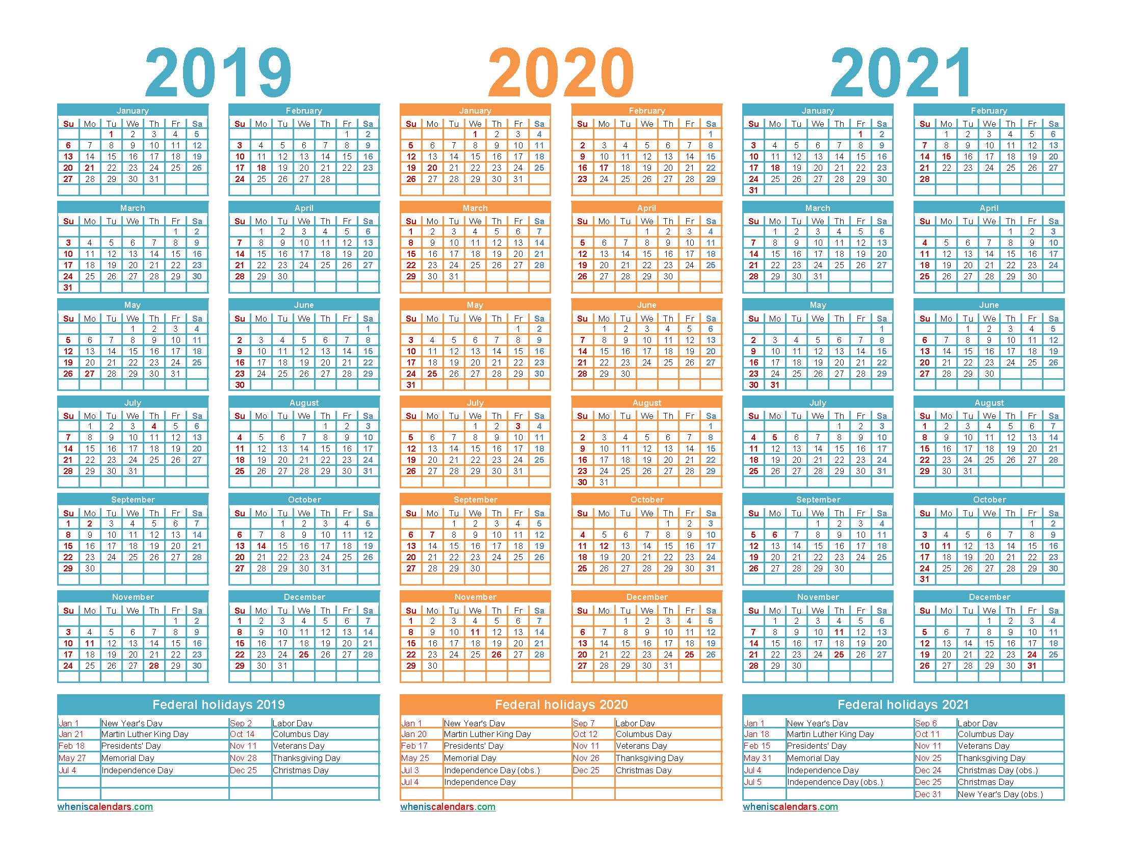 3 Year Planner 2019 To 2021 Calendar With Holidays Word regarding 2021-2022 Three Year Planner: 3 Year
