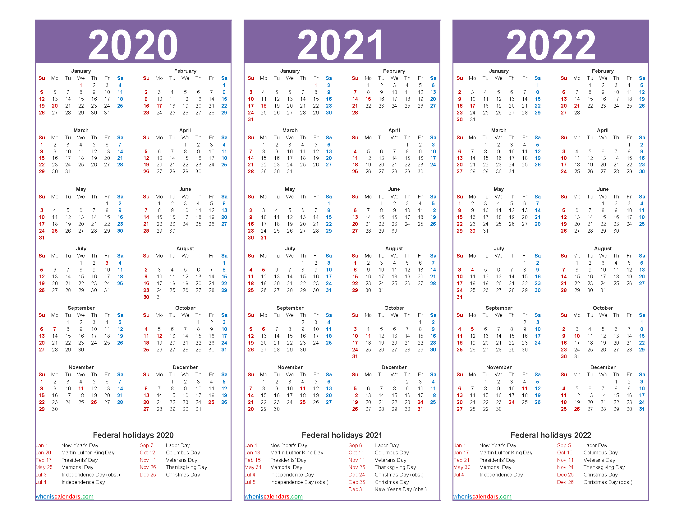 3 Year Planner 2020 To 2022 Calendar With Holidays Word pertaining to 2021-2022 Three Year Planner: 3 Year
