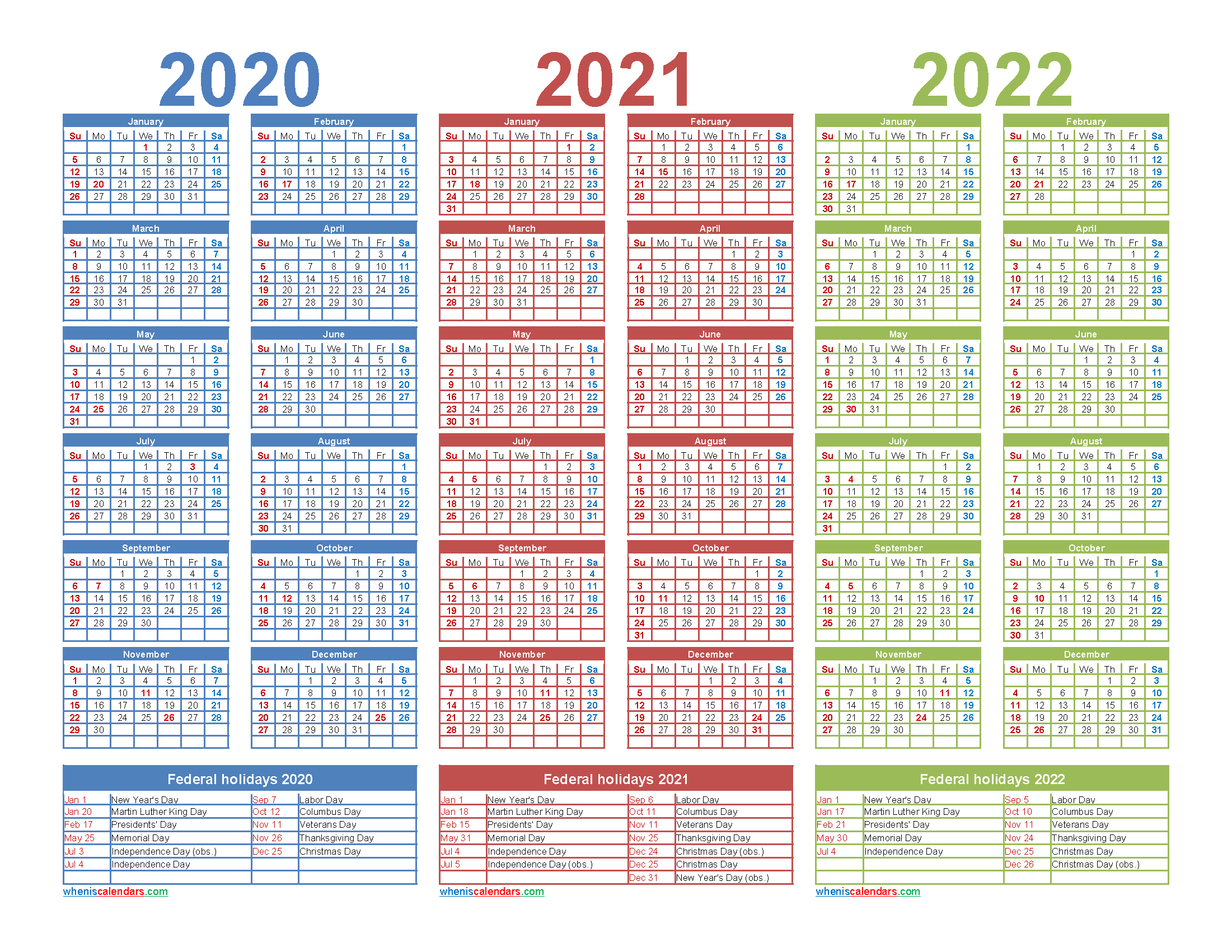 3 Year Planner 2020 To 2022 Calendar With Holidays Word with 2021-2022 Three Year Planner: 3 Year