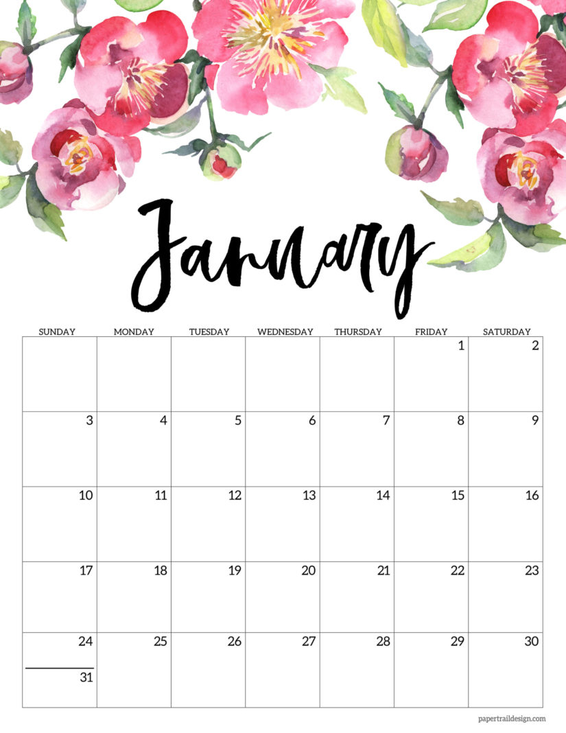30 Minimalist January 2020 Calendars To Print in Tropical Floral: Calendar 2021 Monthly