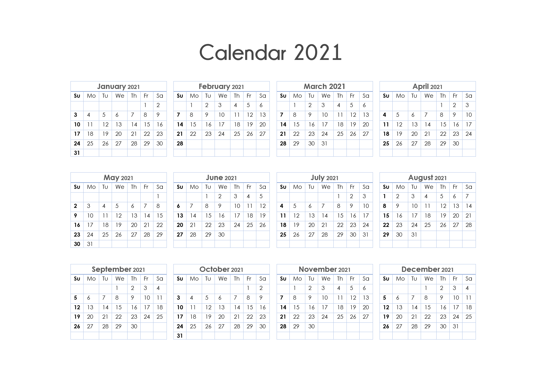 56+ Printable Calendar 2021 One Page, Us 2021 Calendar inside 2021 Printable Calendar With Boxes Yearly