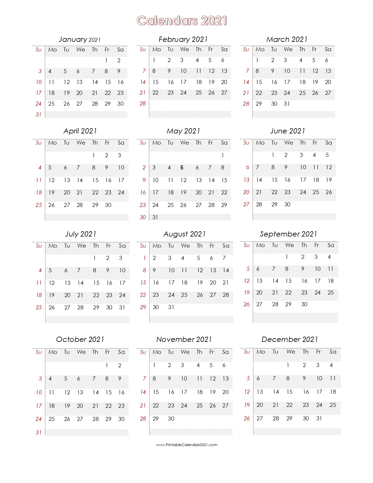 56+ Printable Calendar 2021 One Page, Us 2021 Calendar with 2021 Calendar To Fill In