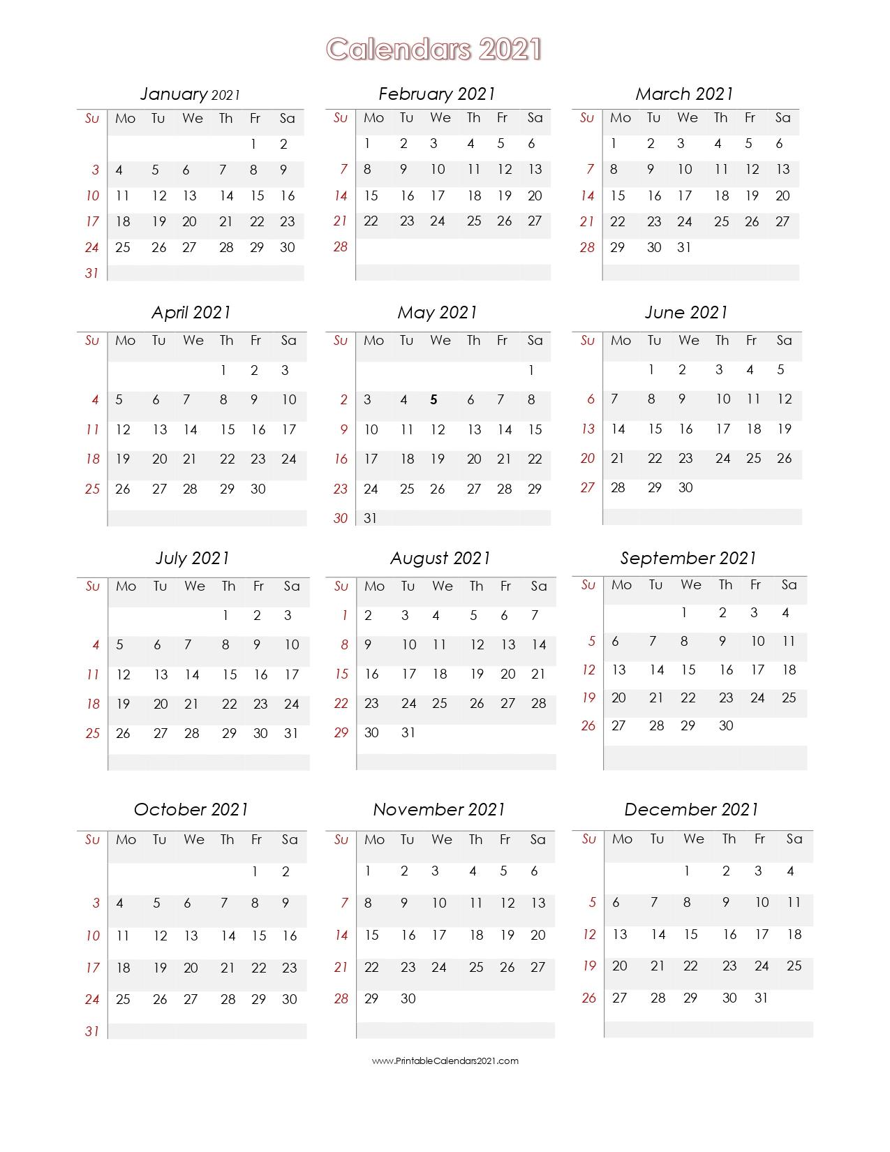 56+ Printable Calendar 2021 One Page, Us 2021 Calendar with regard to Calendar Fill In 2021