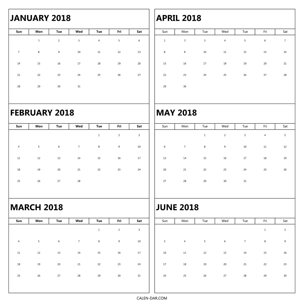 6 Month 2018 Calendar Printable [Half Year One Page with regard to Half-Page Yearly Callendar