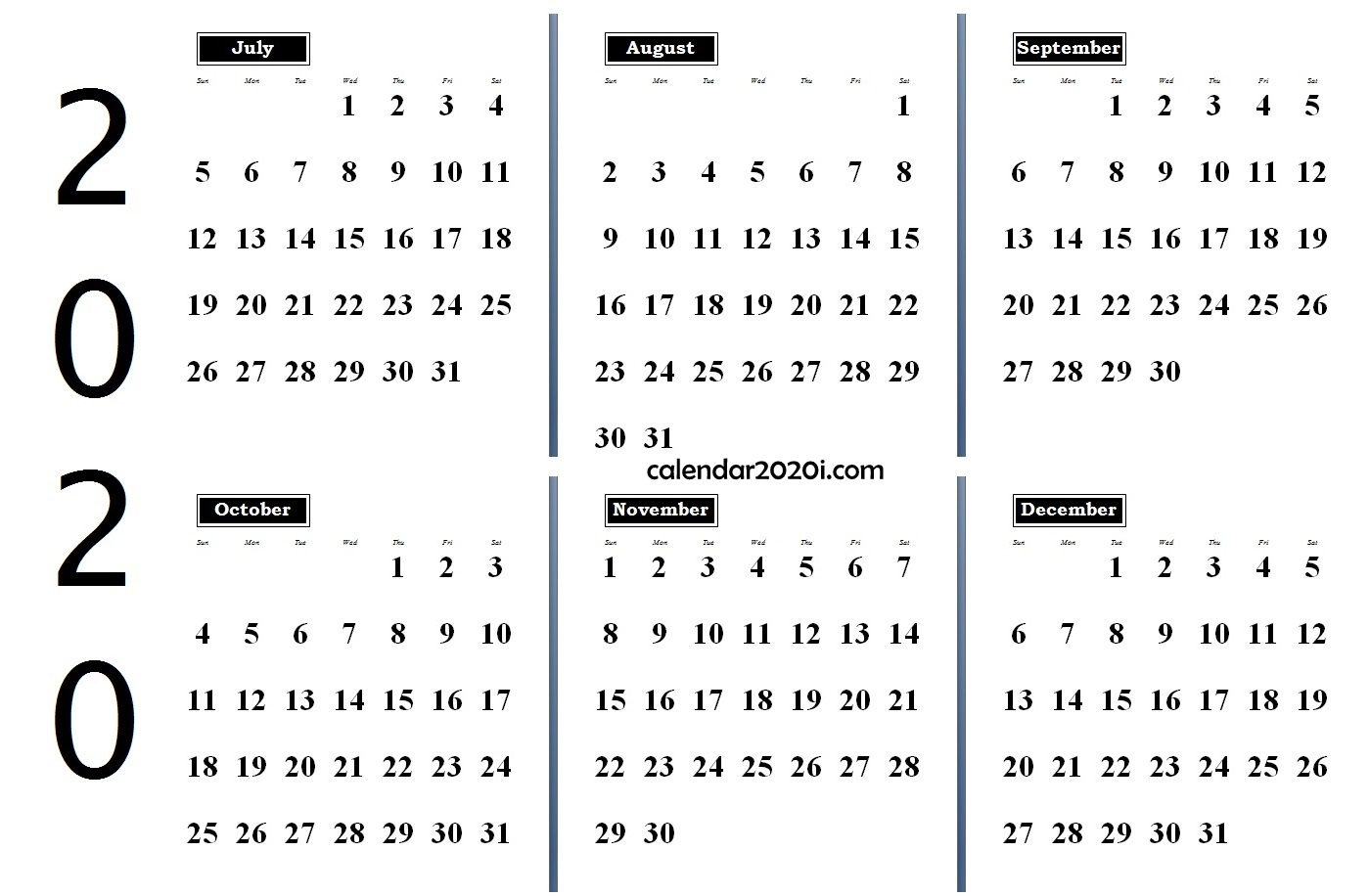 6 Months 2020 Half Year Printable Calendar | Calendar 2020 within Half-Page Yearly Callendar