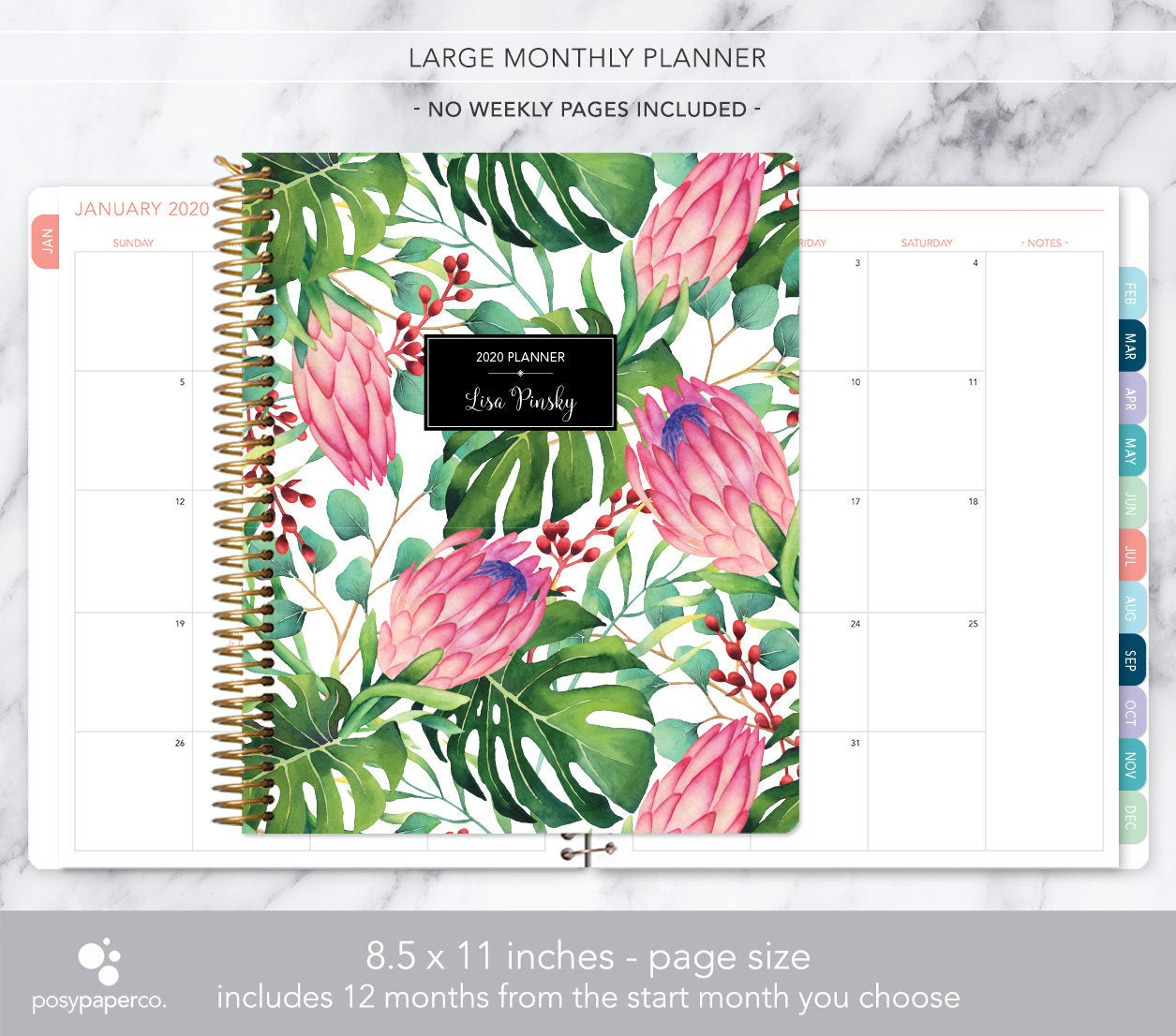 8.5X11 Monthly Planner Notebook | 2020 2021 No Weekly View | Choose Your  Start Month | 12 Month Calendar | Tropical Floral within Tropical Floral: Calendar 2021 Monthly