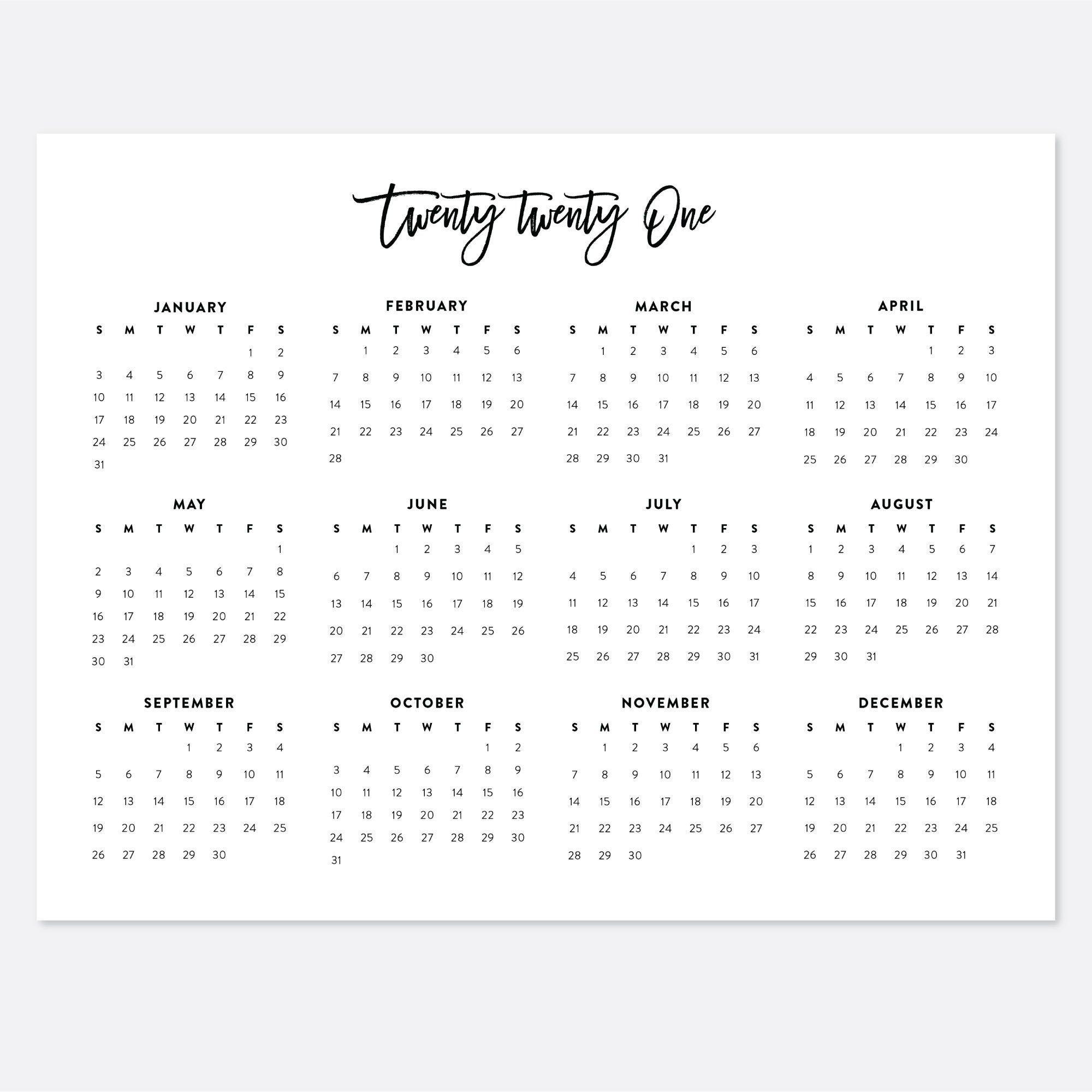 8.5X11 Printable Calendar 2021 Letter Calendar 2021 Year with 8.5 X 11 Printable Calendars