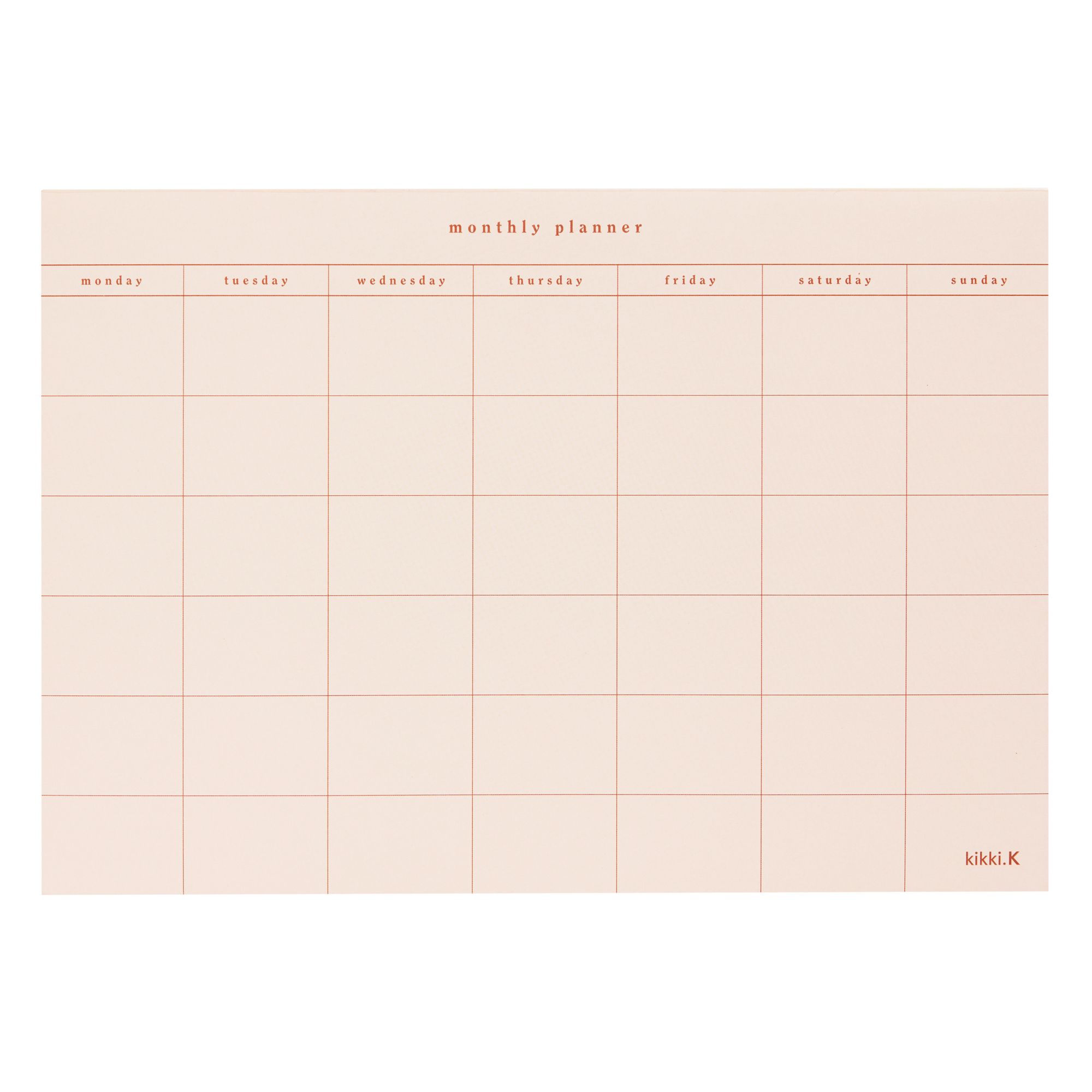 A4 Monthly Planner Pad Almond: Self within Wall Calendar Kikki K