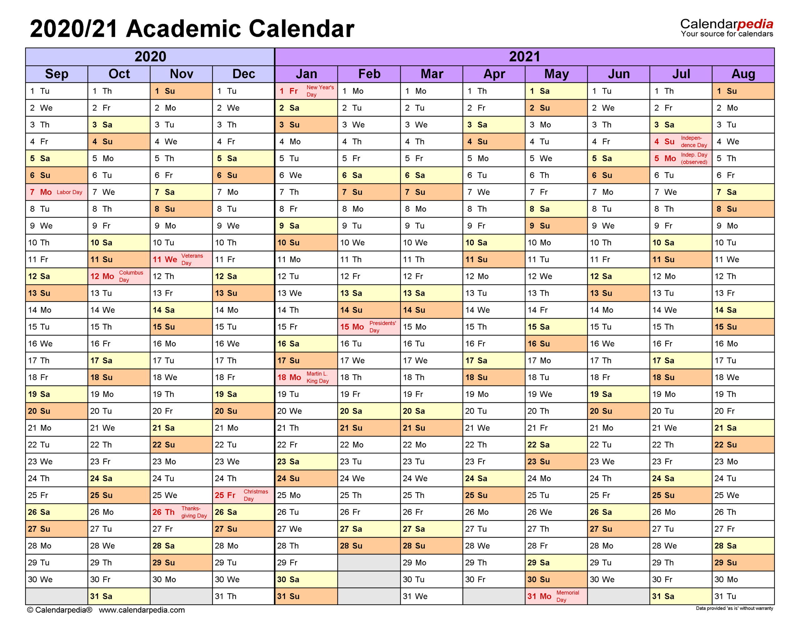 Academic Calendars 2020/2021 - Free Printable Excel Templates pertaining to Academic Diary August 2021 To August