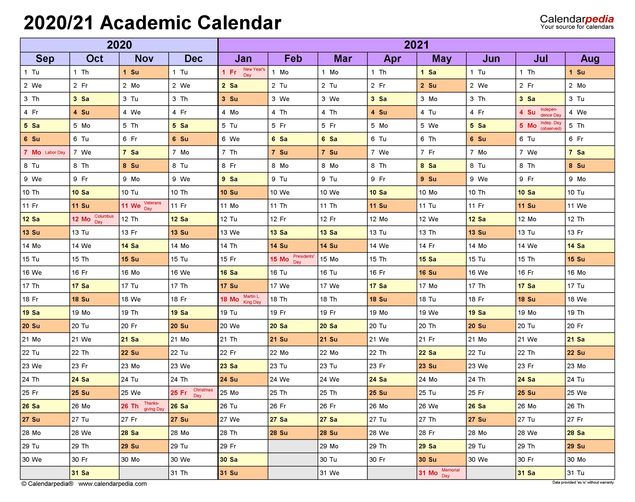 Academic Calendars 2020/2021 - Free Printable Pdf Templates pertaining to Sunday To Saturday Year Calendar 2021/21