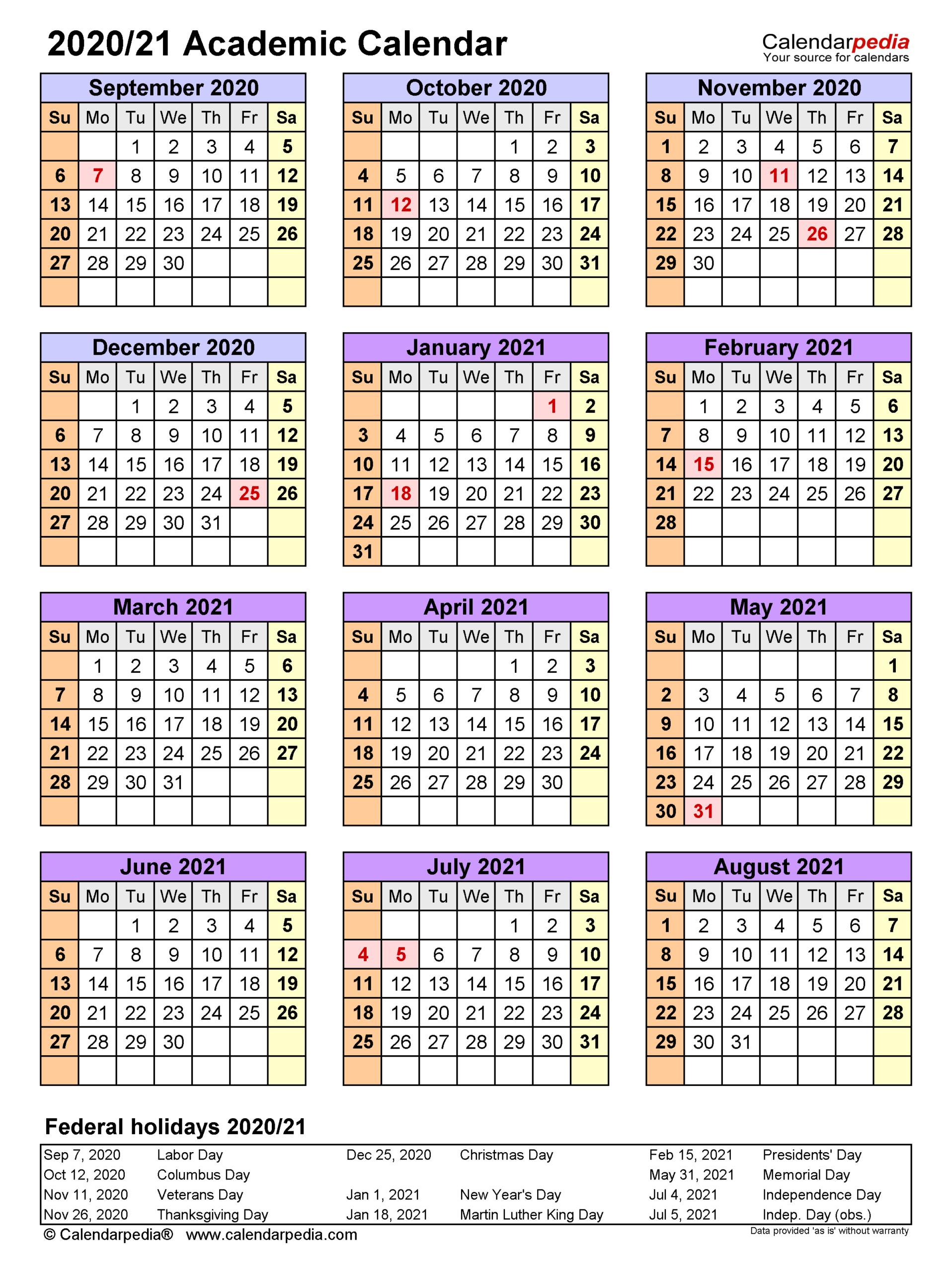 Academic Calendars 2020/2021 - Free Printable Word Templates pertaining to Vertex Academic Calendar